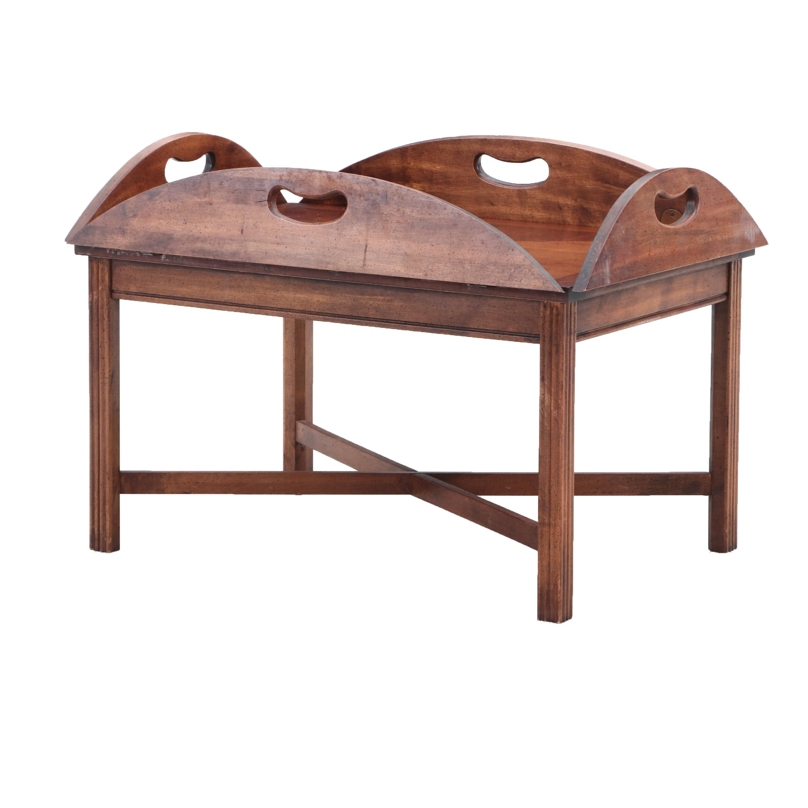 Colonial Walnut and Mahogany Parquetry Tray Table, Late 20th Century