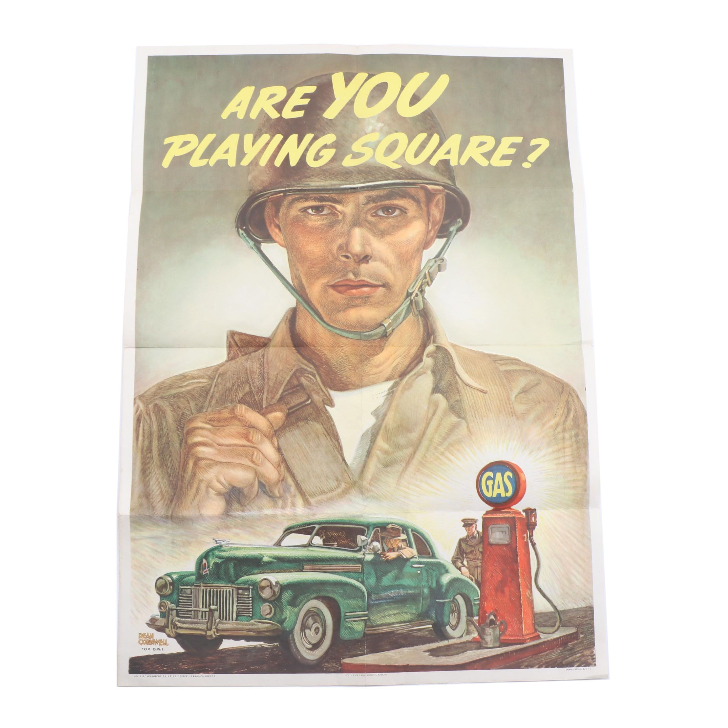 """1944 Office of War Information Offset Lithograph Poster """"Are You Playing Square"""""""