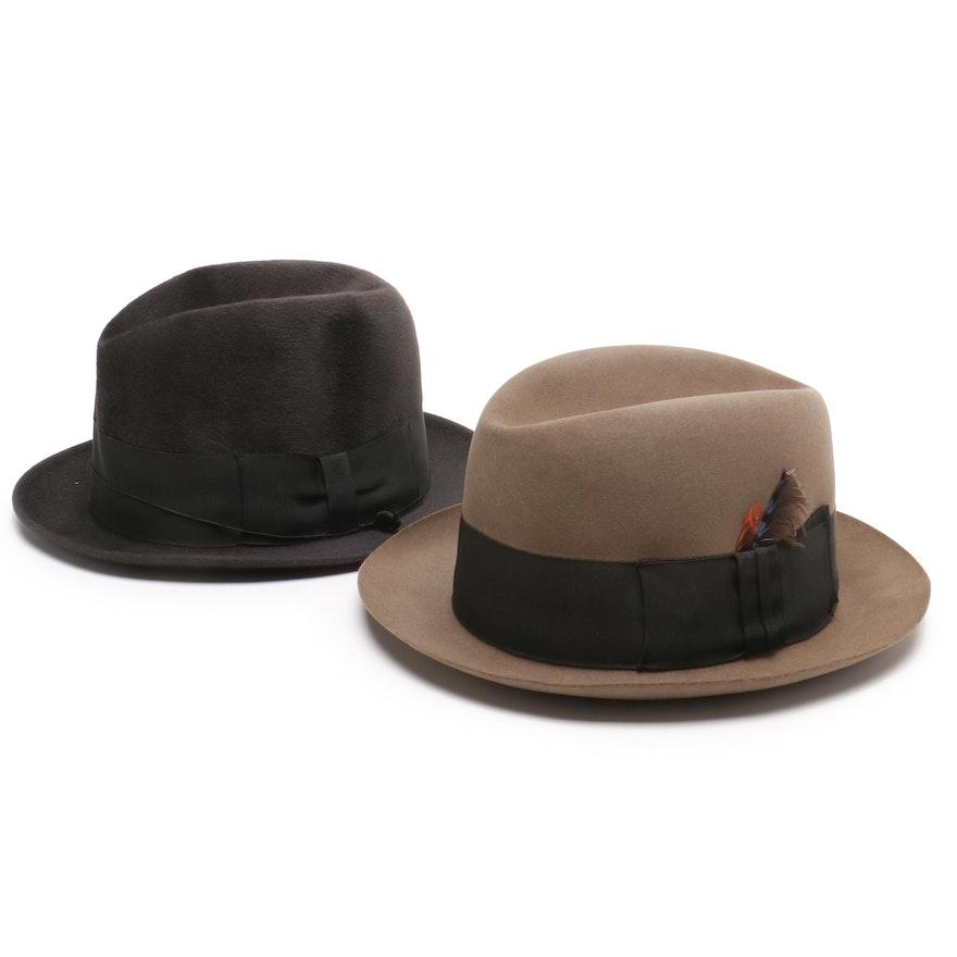 209a3c6a Borsalino Dyed Beaver Felt and Brooks Brothers Felt Homburg Hats with  Grosgrain | EBTH