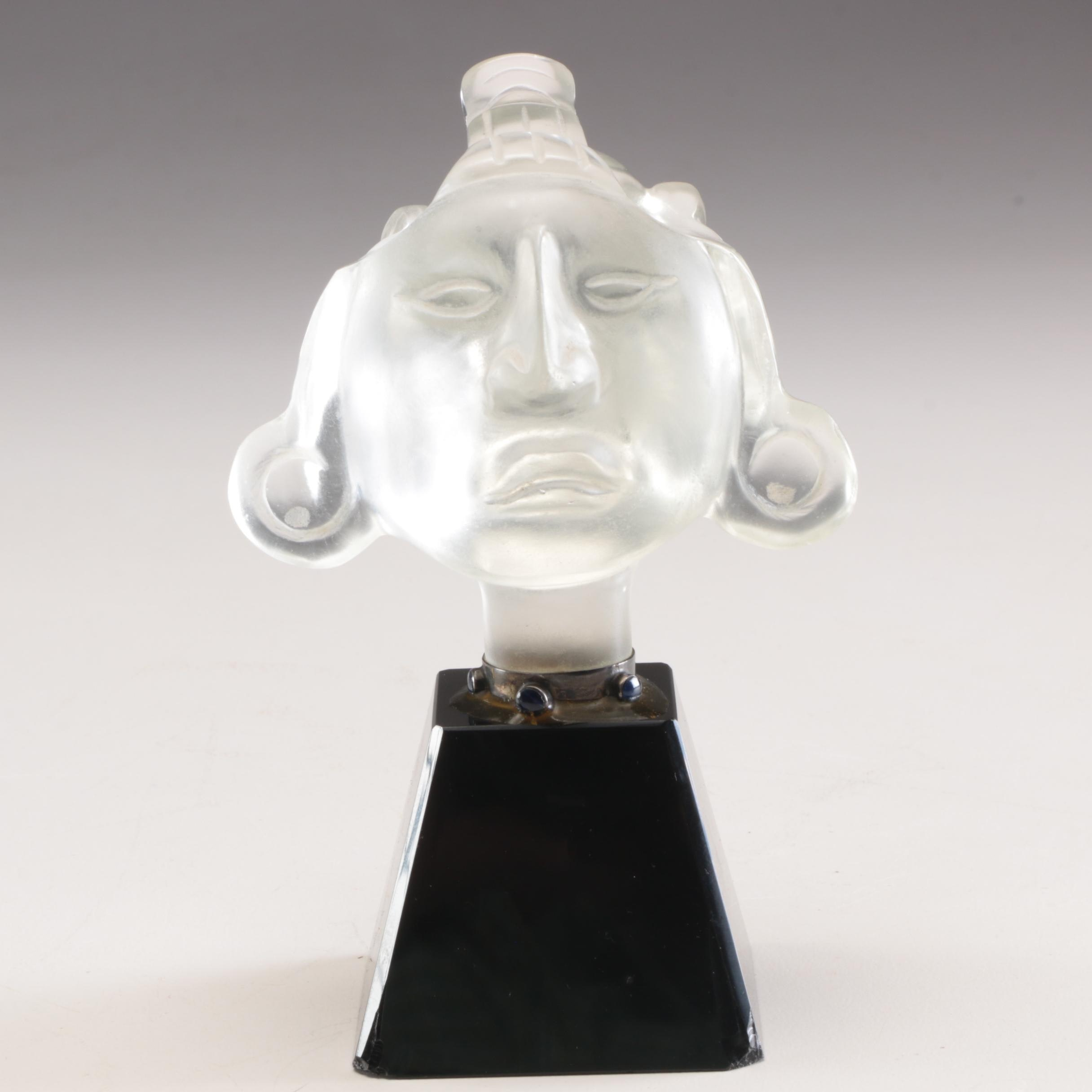 South American  Inspired Glass Figurine with Sodalite Accents