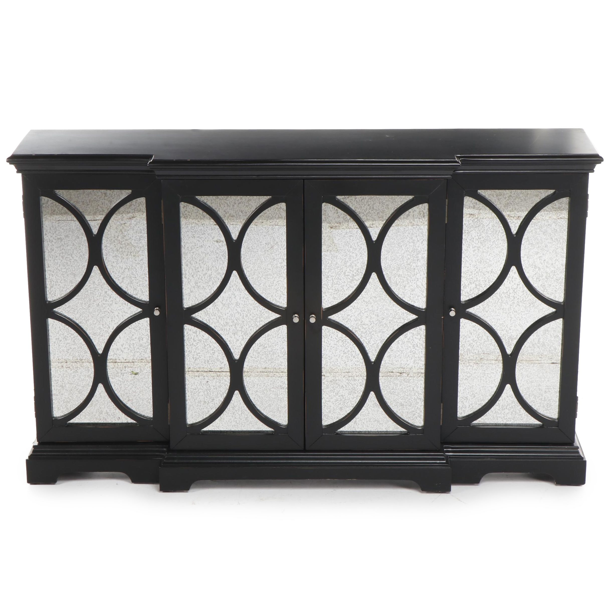 Home Meridian Black Cabinet with Mirrored Doors and Decorative Wooden Grilles
