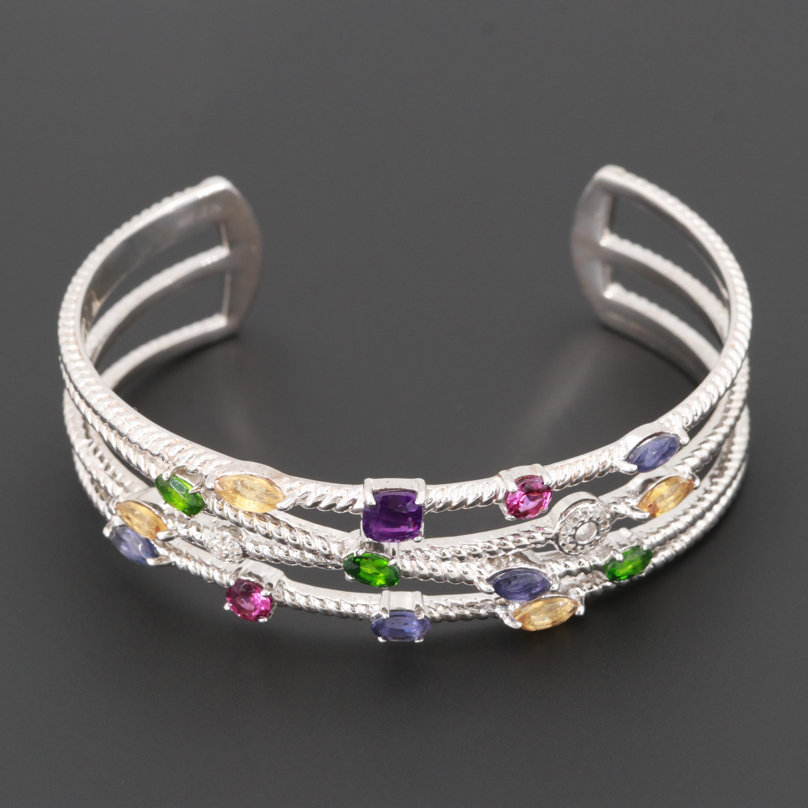 Sterling Silver Amethyst, Chrome Diopside and Rhodolite Garnet Cuff Bracelet