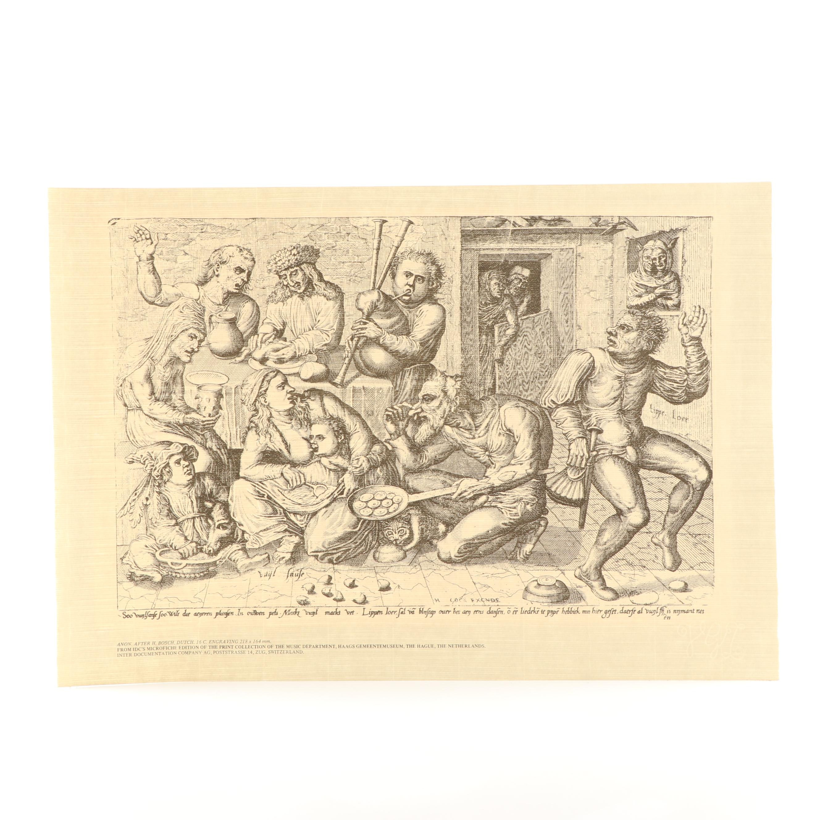 """Lithograph after Hieronymus Bosch """"Anon"""""""