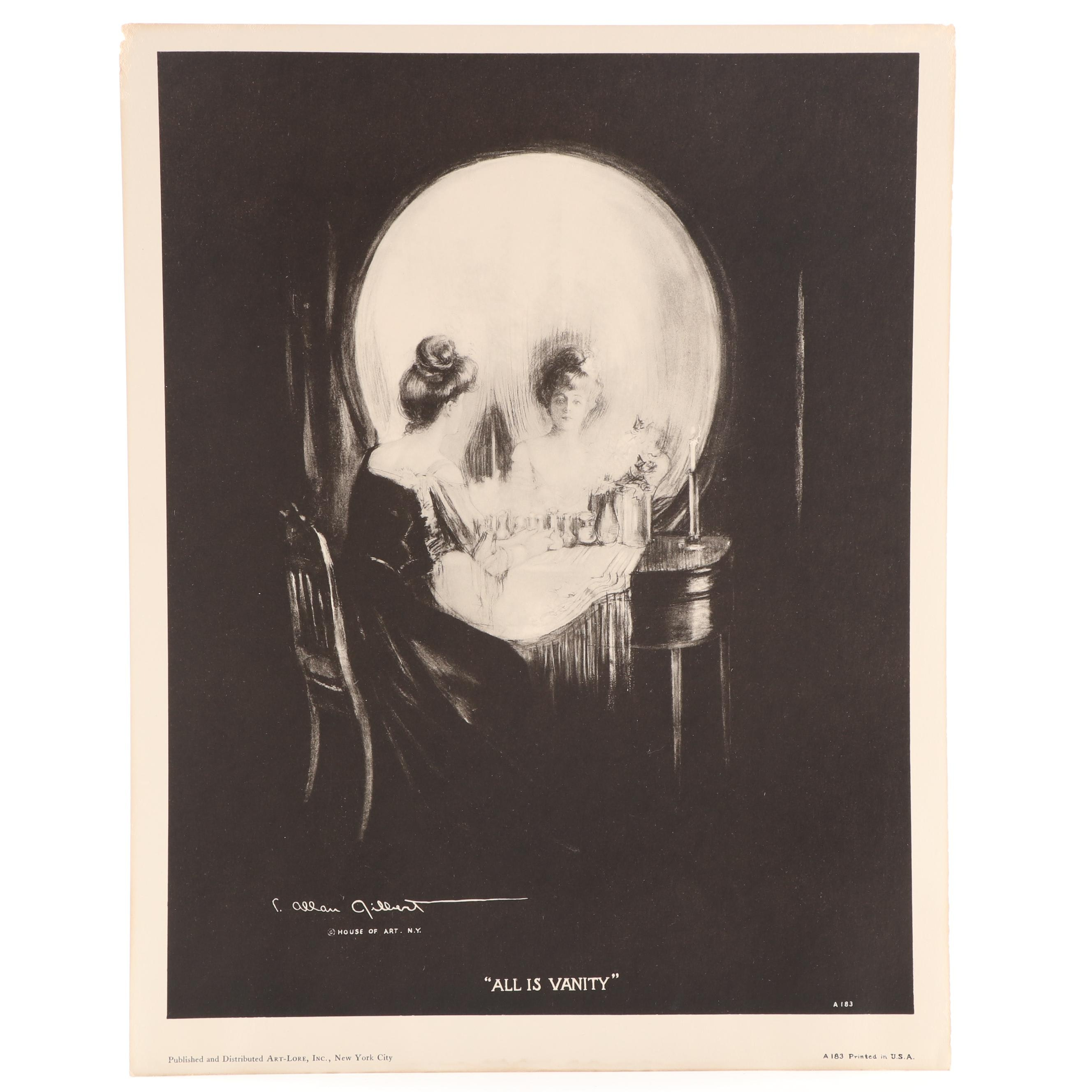 """Lithographic Print after Charles Allen Gilbert """"All Is Vanity"""""""