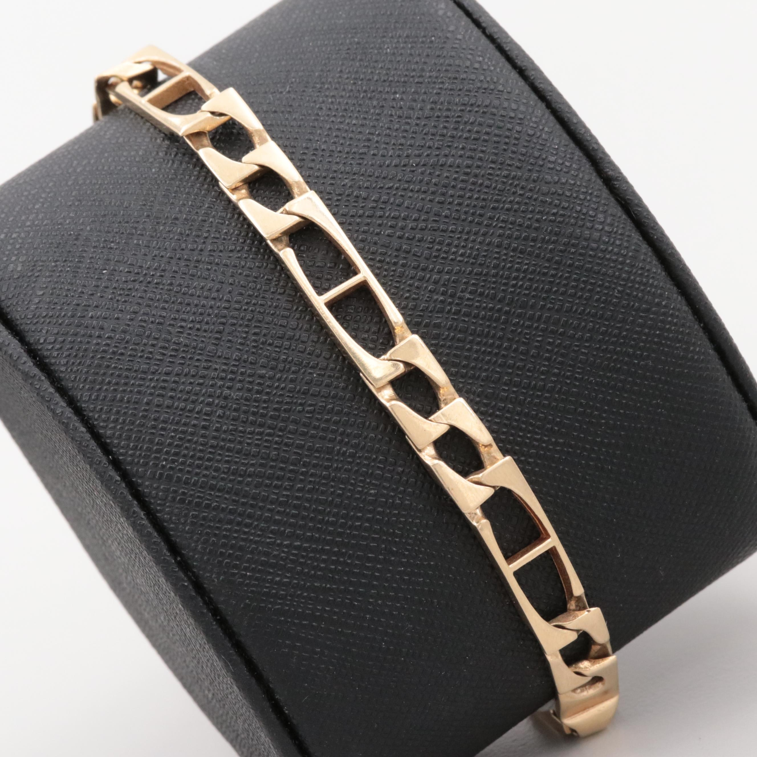 14K Yellow Gold Flat Chain Bracelet