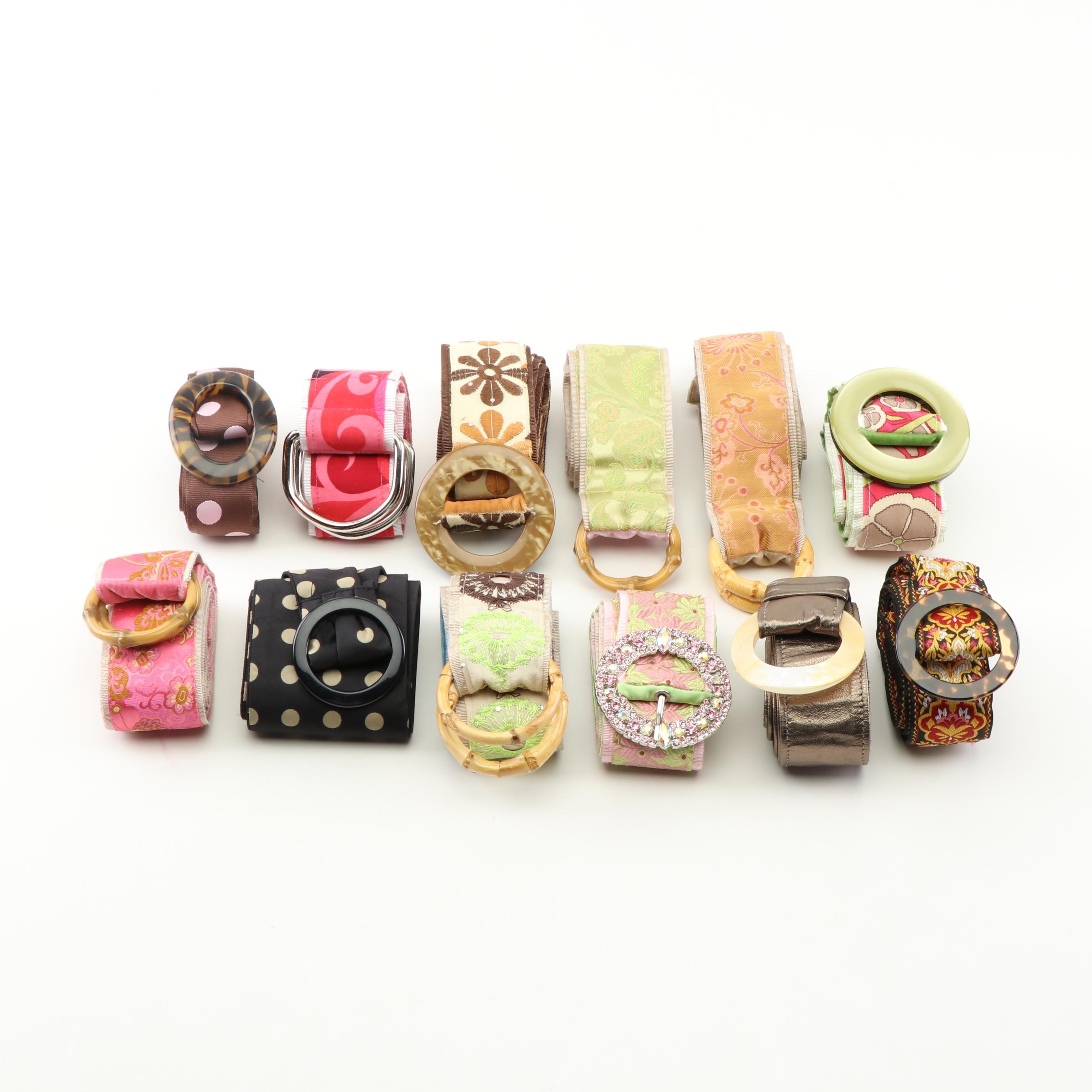 Twelve Fabric Belts Including Wink, Punch USA, and Loop de Loops
