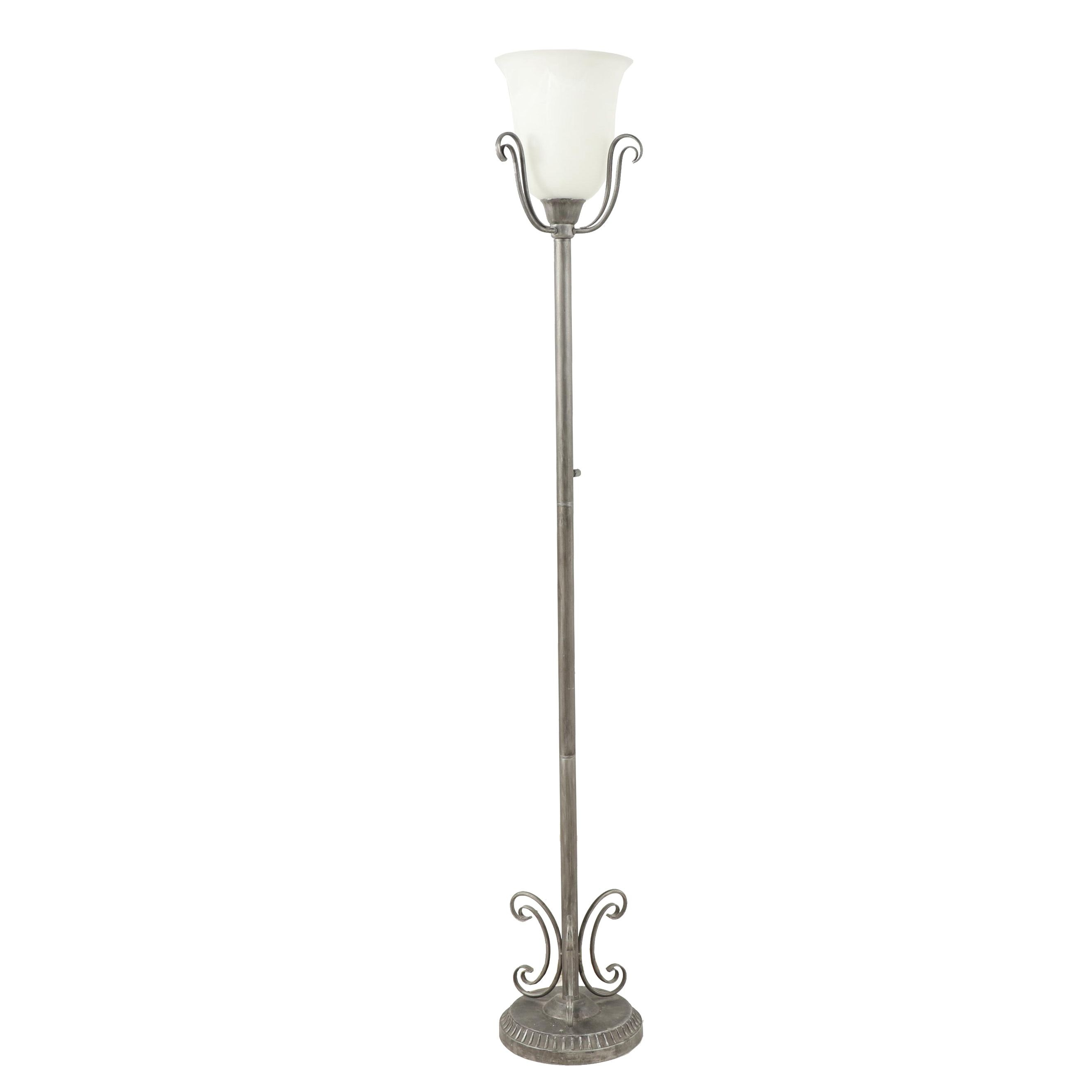 Brushed and Antiqued Metal Torchiere Floor Lamp with Frosted Glass Shade