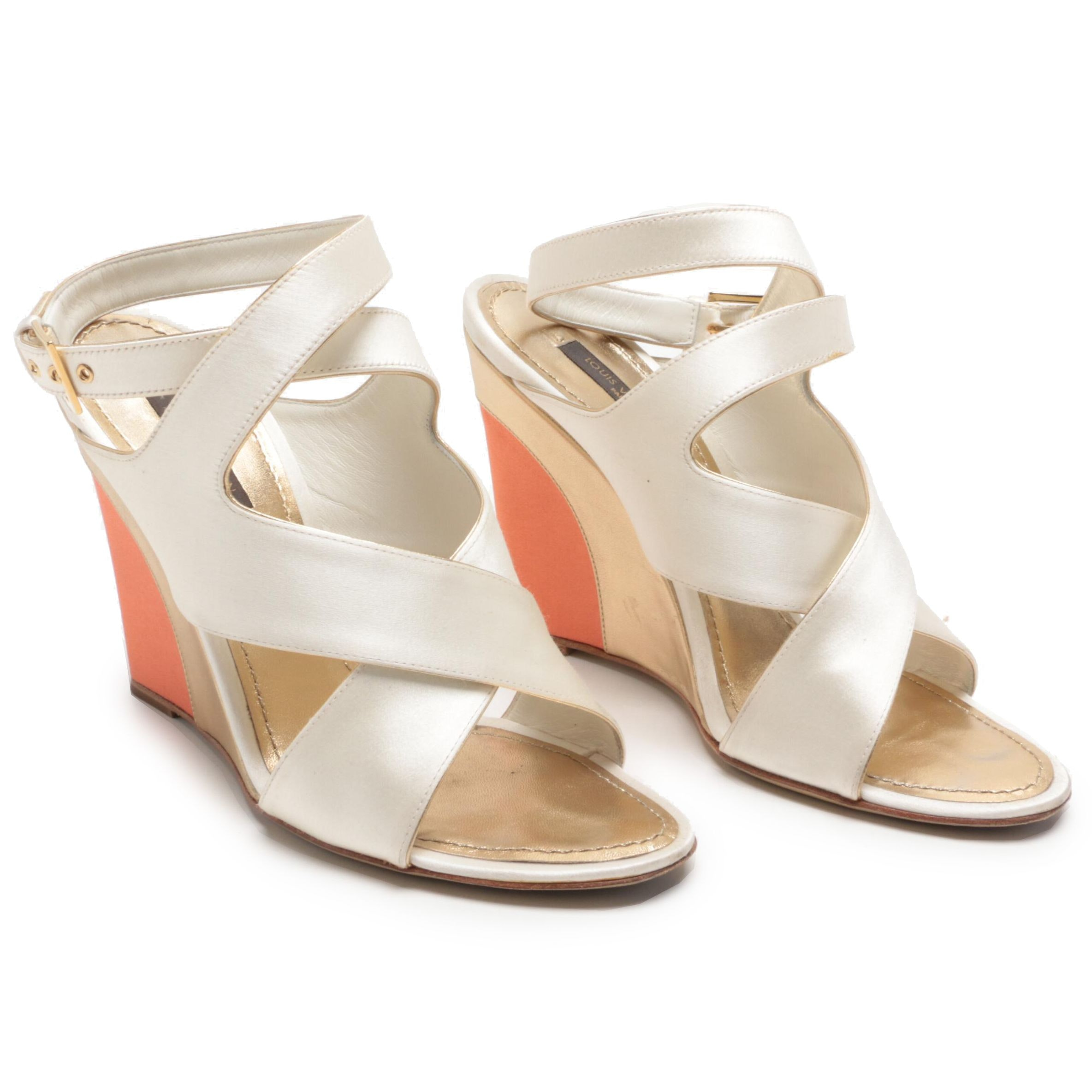 Louis Vuitton Paris Cross Strap Peep-Toe Satin and Leather Wedges
