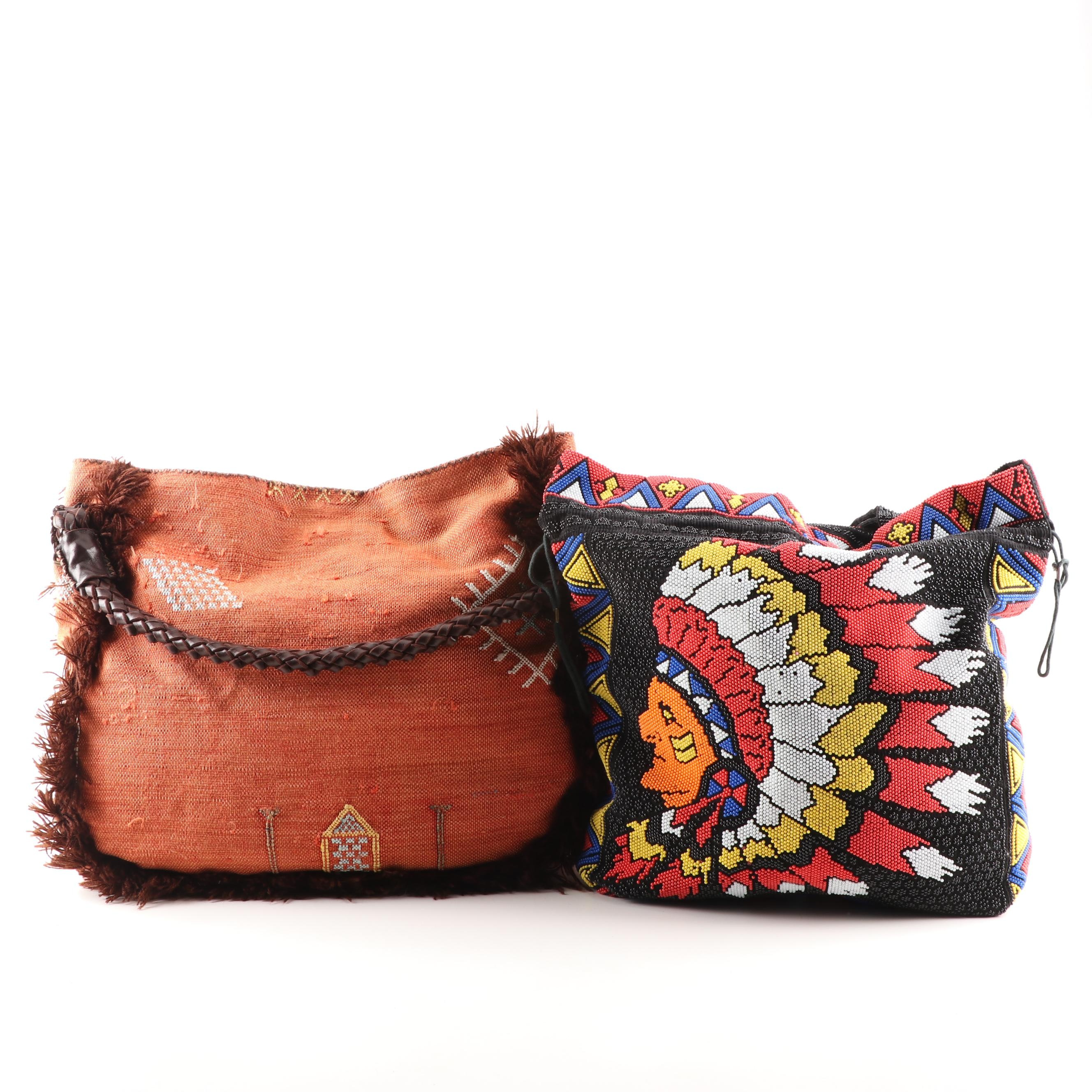 Beaded And Fringed Tote Bags