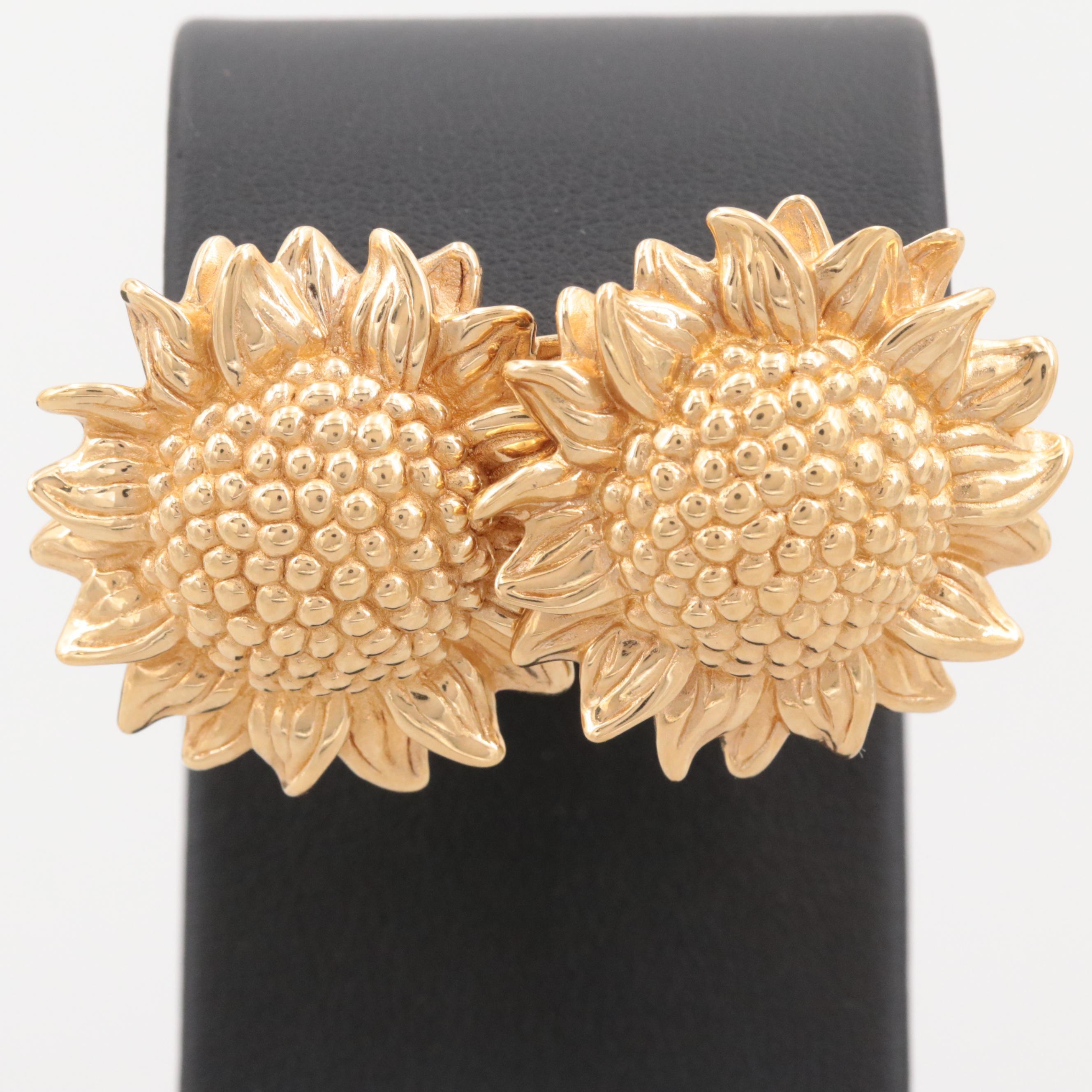 14K Yellow Gold Sunflower Earrings