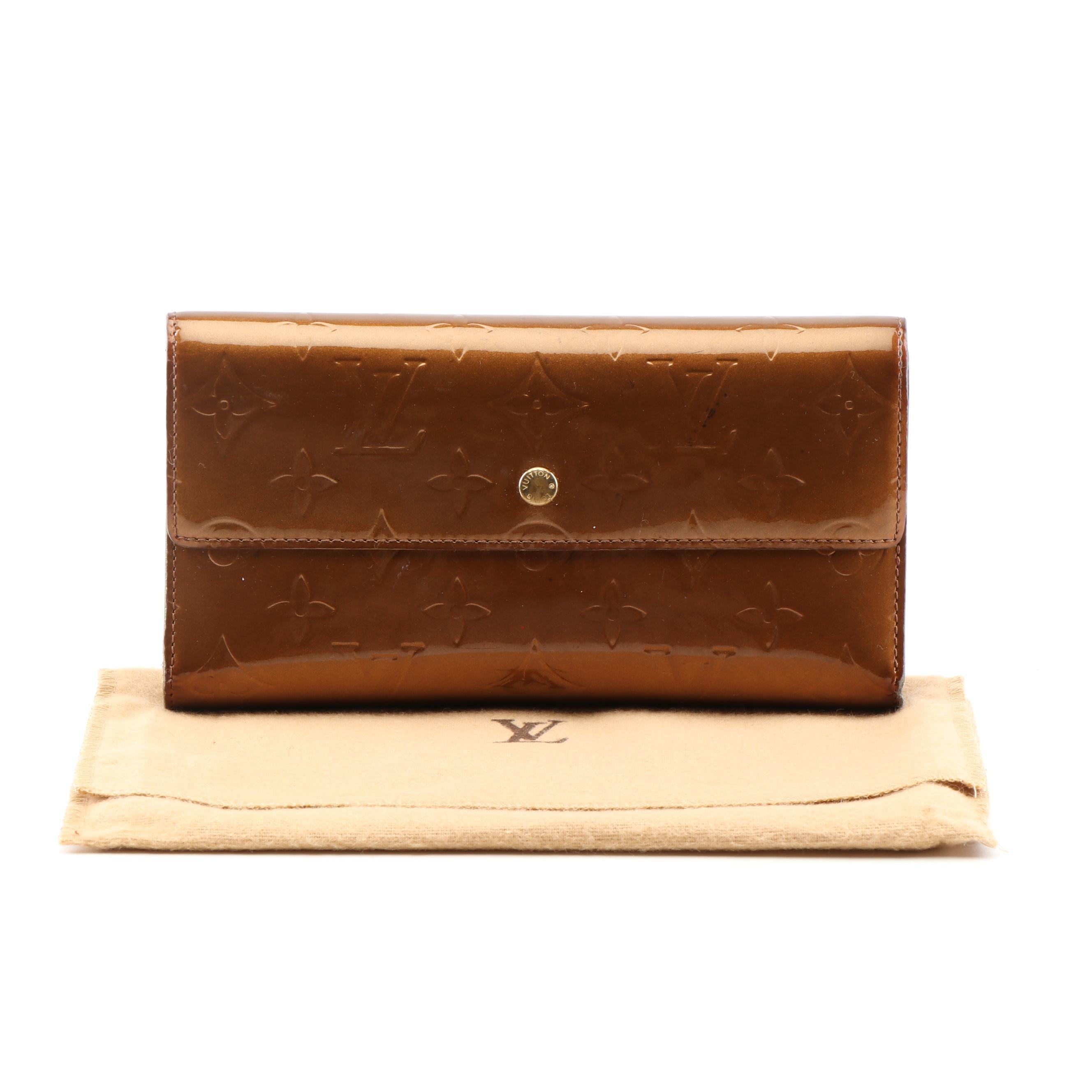 Louis Vuitton Paris Bronze Vernis Patent Leather Sarah Wallet