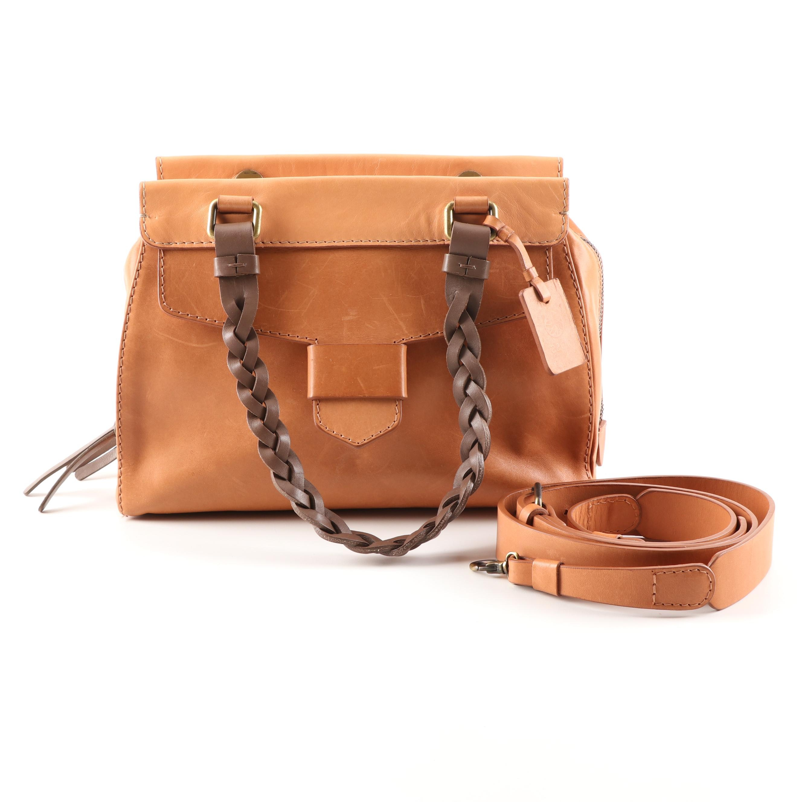 Hoss Intropia Tan Leather Satchel with Dark Brown Braided Leather Strap
