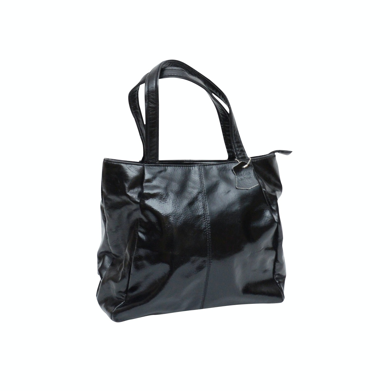 Harvé Benard Black Patent Leather Tote Shoulder Bag
