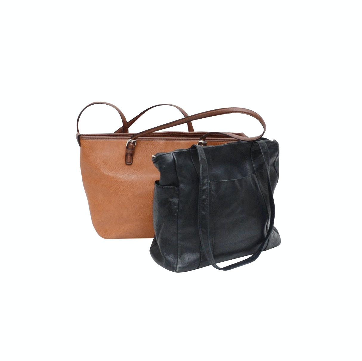 Bueno Tan Grained Leather Shoulder Bag and Black Grained Leather Shoulder Bag