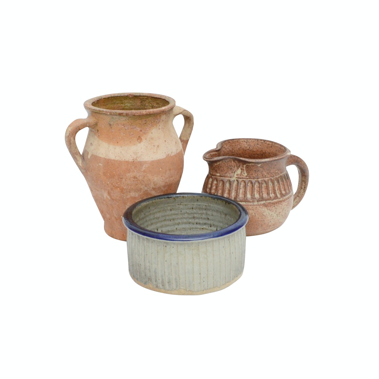 Terracotta Confit Style Urn with Stoneware Bowl and Pitcher