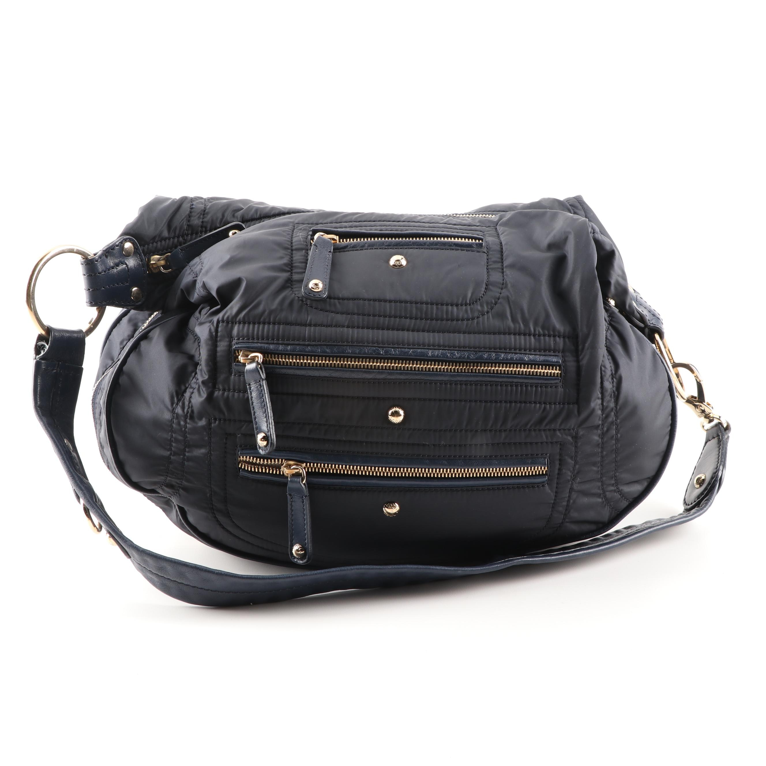 Tod's Navy Nylon Quilted Shoulder Bag