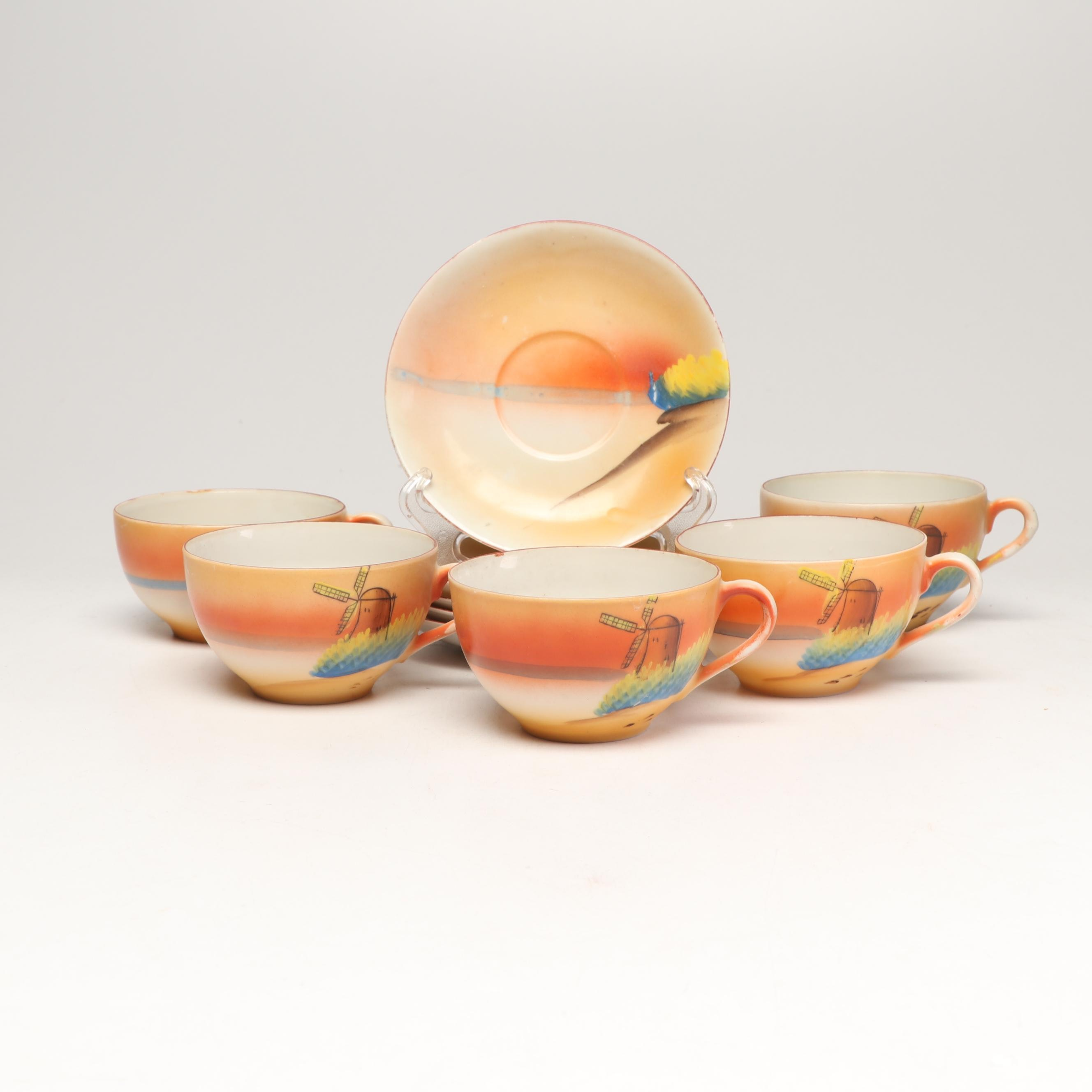 Japanese Lusterware Teacups and Saucers with Hand Painted Windmills, Mid-Century