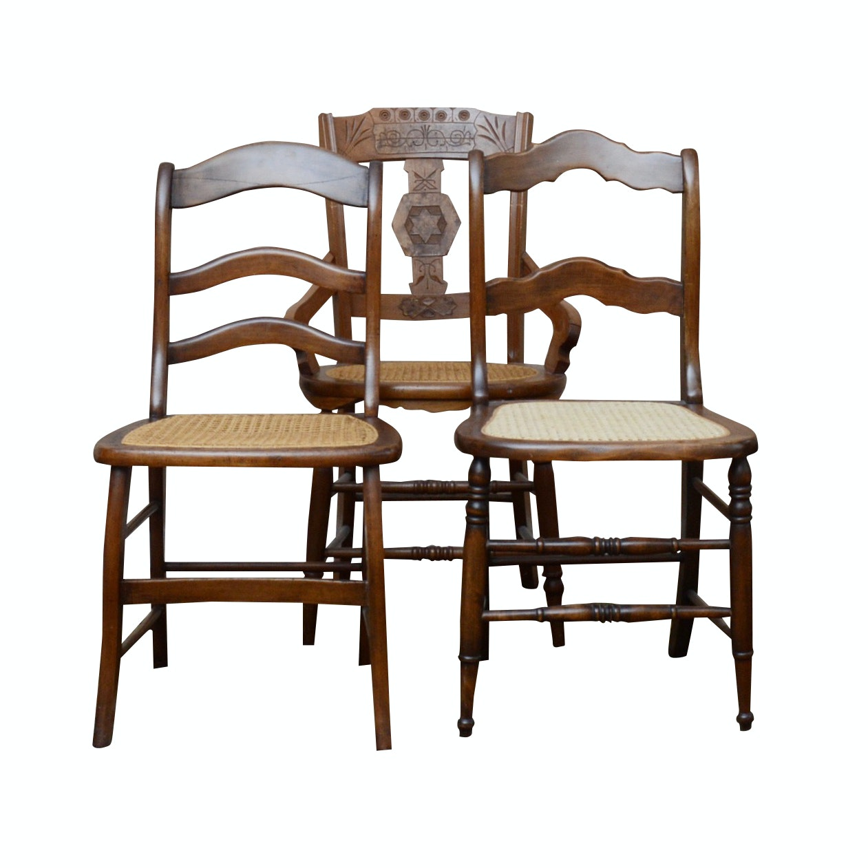 Three Wooden Side Chairs with Cane Seating