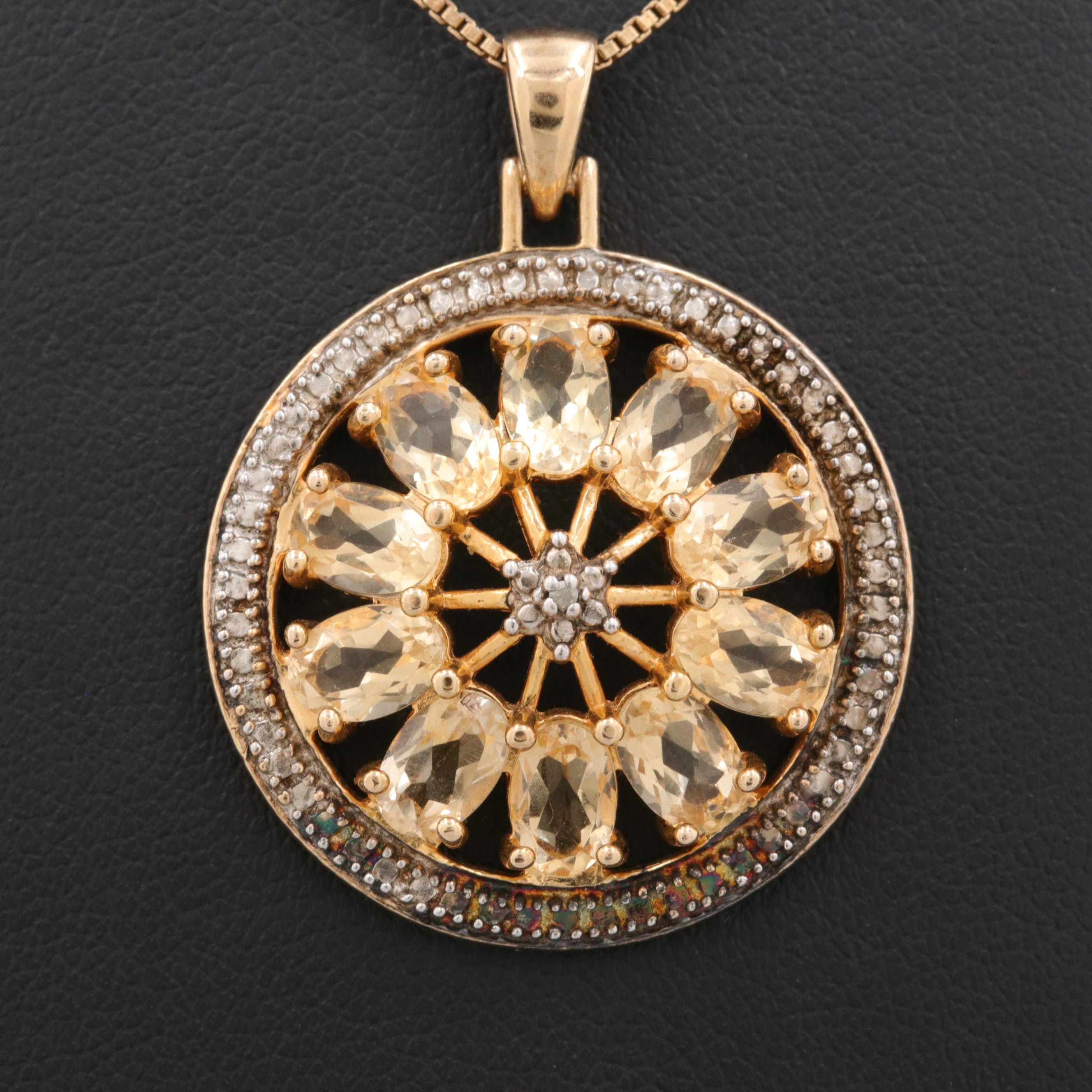 Gold Wash on Sterling Silver Citrine an Diamond Pendant Necklace