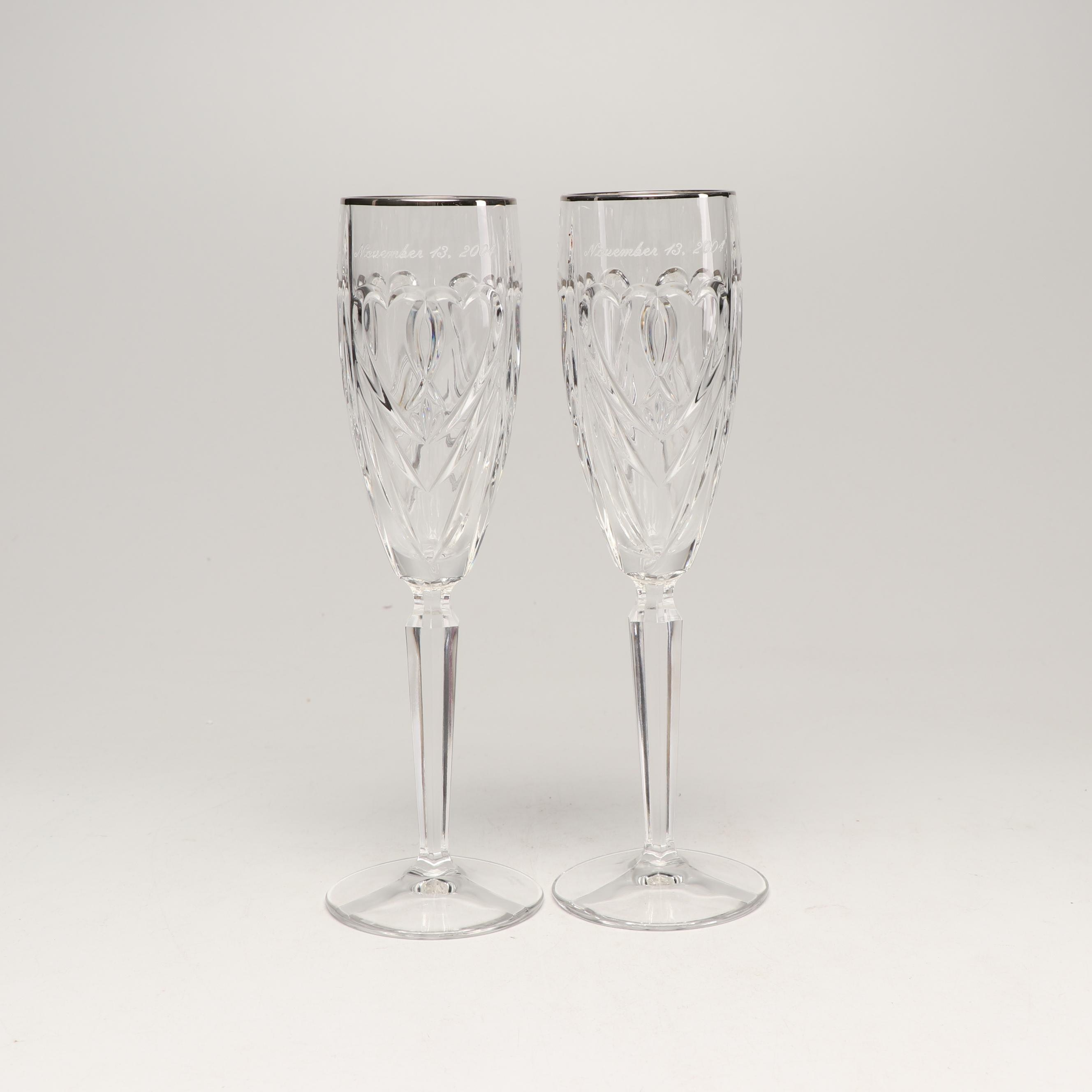"Marquis by Waterford ""Double Hearts"" Crystal Champagne Flutes, 2000s"
