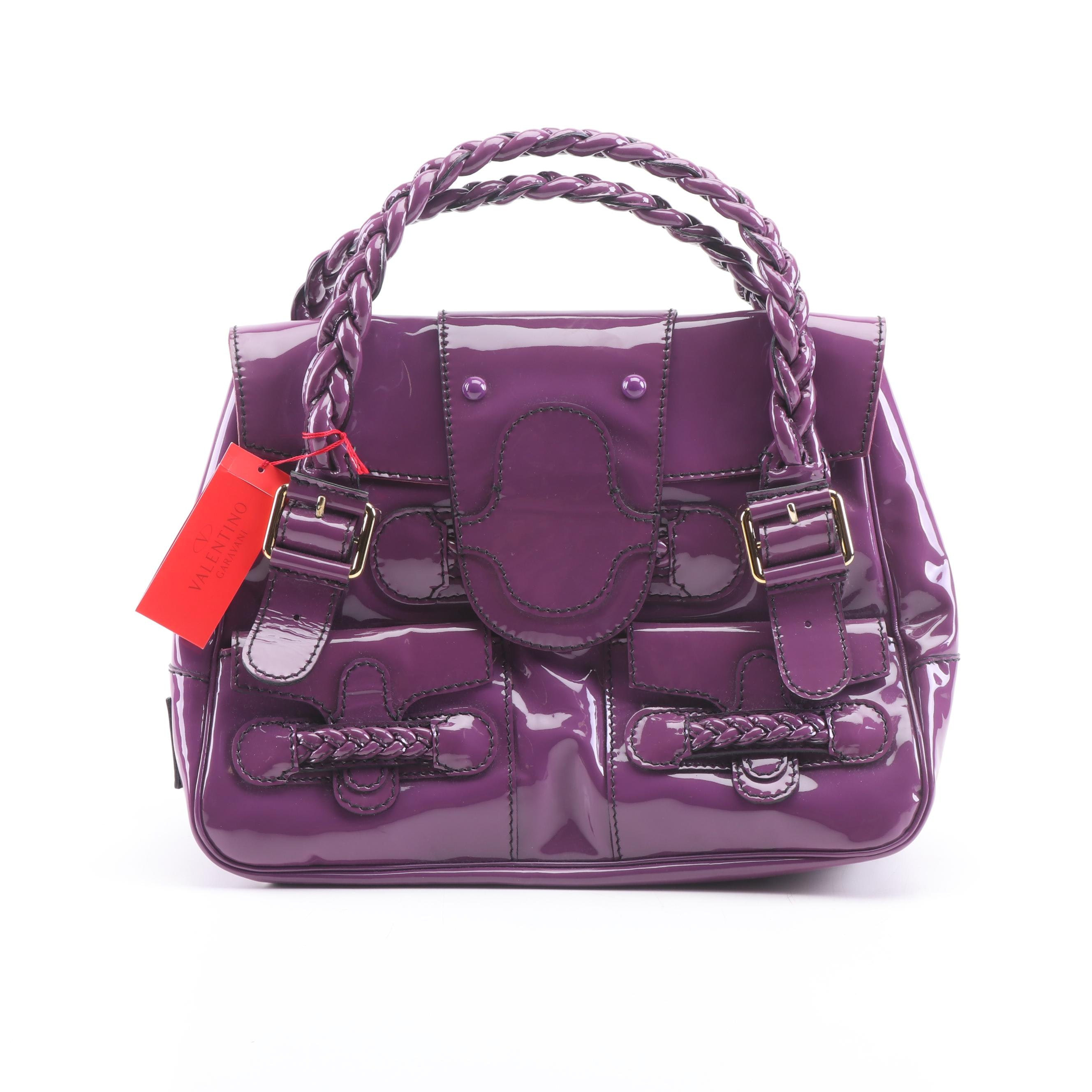 Valentino Garavani Eggplant Patent Leather Shoulder Bag