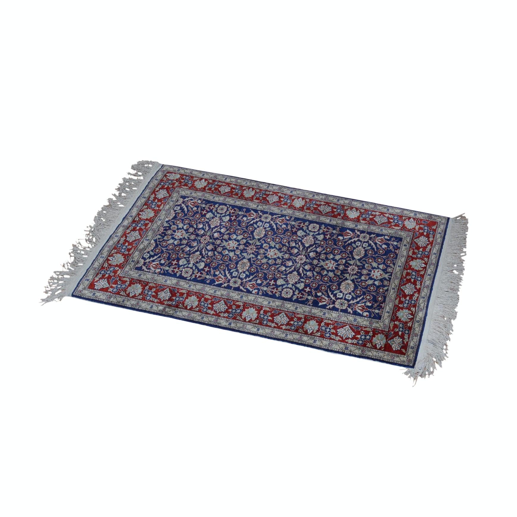 Hand-Knotted Turkish Isparta Kayseri Silk on Silk Rug