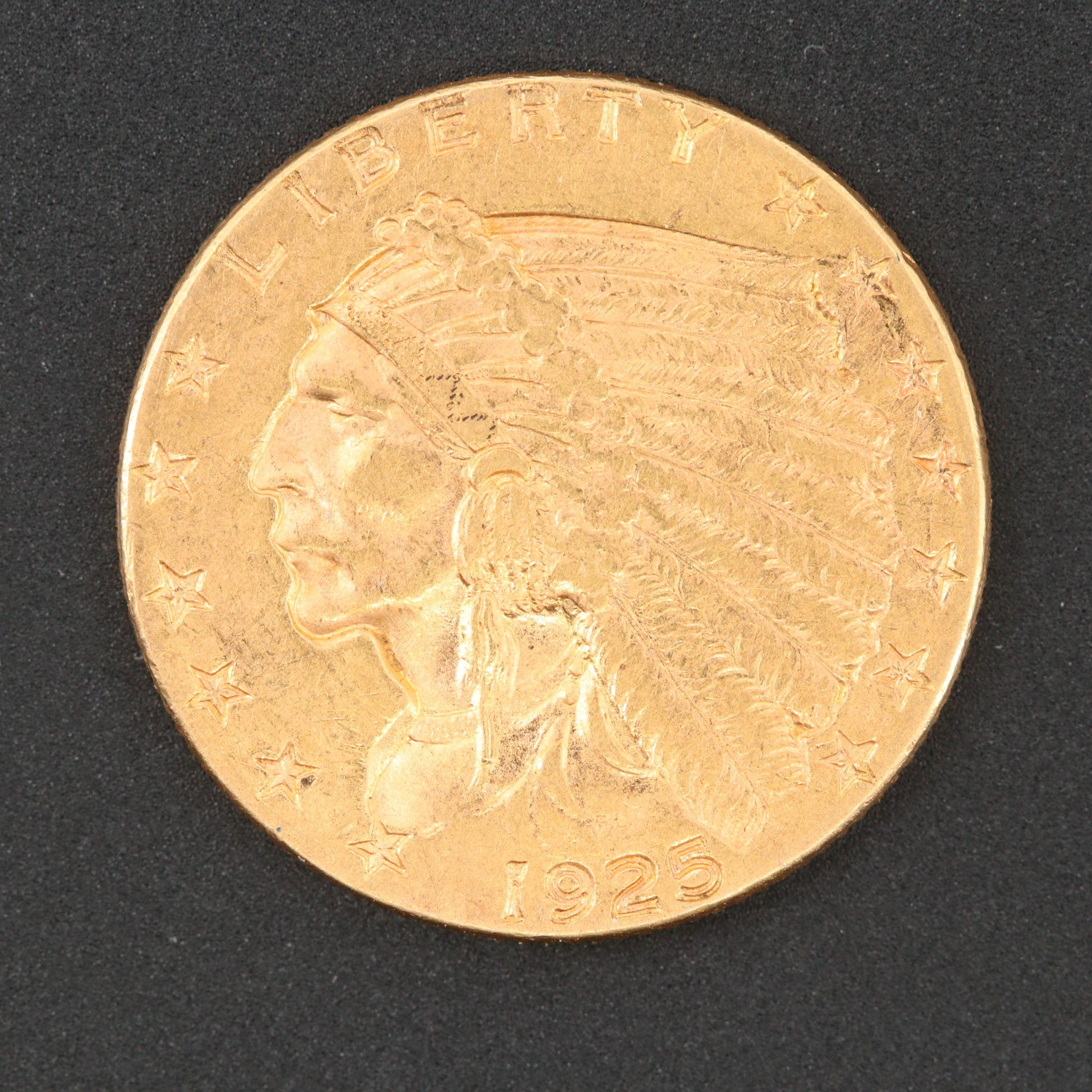 1925-D Indian Head $2 1/2 Gold Coin