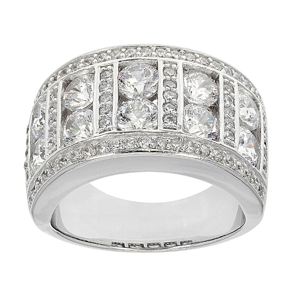 Sterling Silver Diamond Simulant Ring