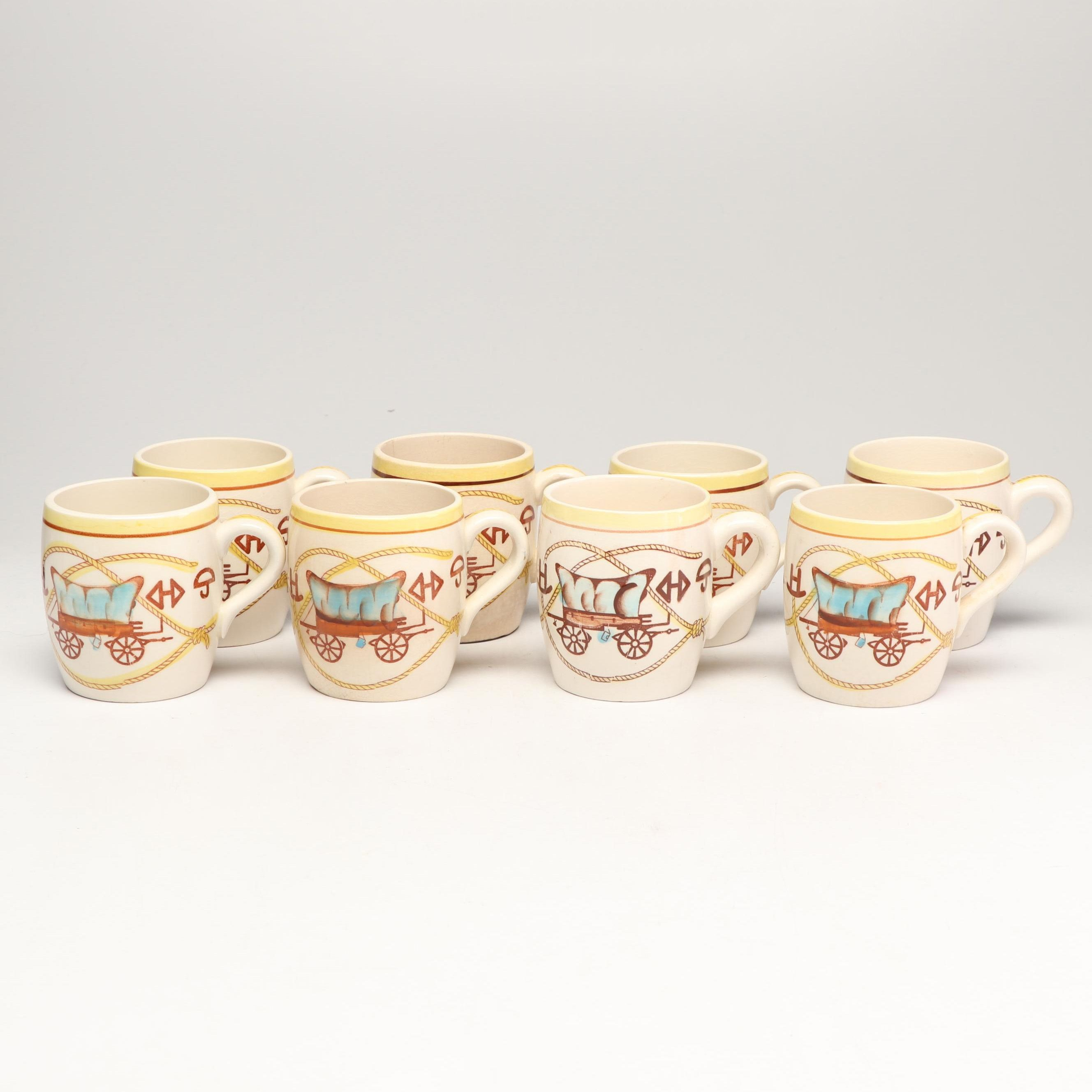 """""""Chuck Wagon and Spurs"""" Mugs Designed by Fred Roberts, Mid-Century"""