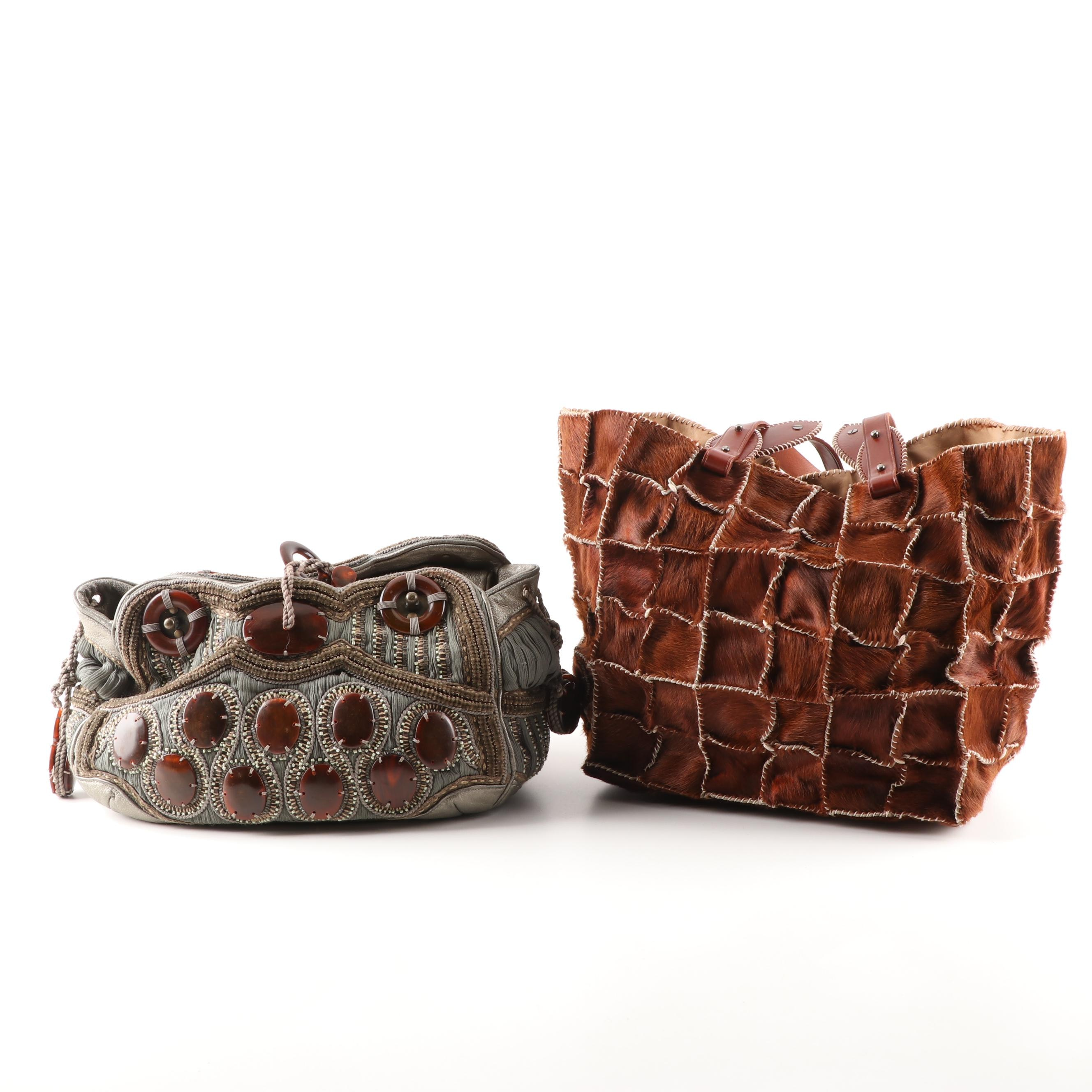 Jamin Puech Embellished Clutch and Brown Calf Hair Tote Bag