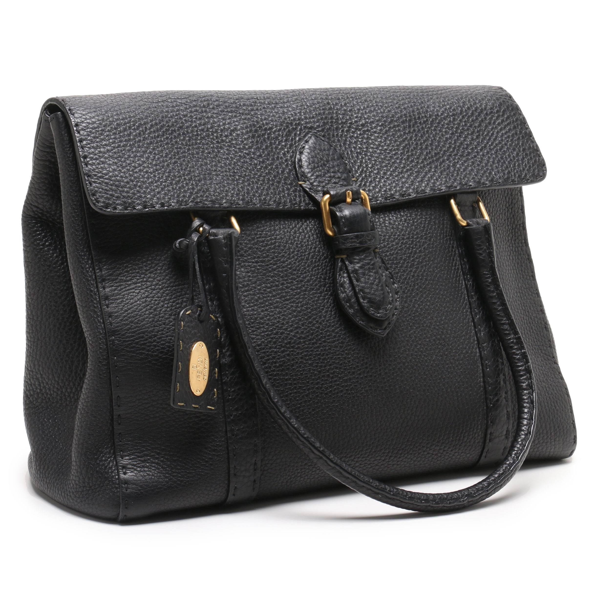 Fendi Selleria Black Pebbled Leather Linda Flap Satchel Bag