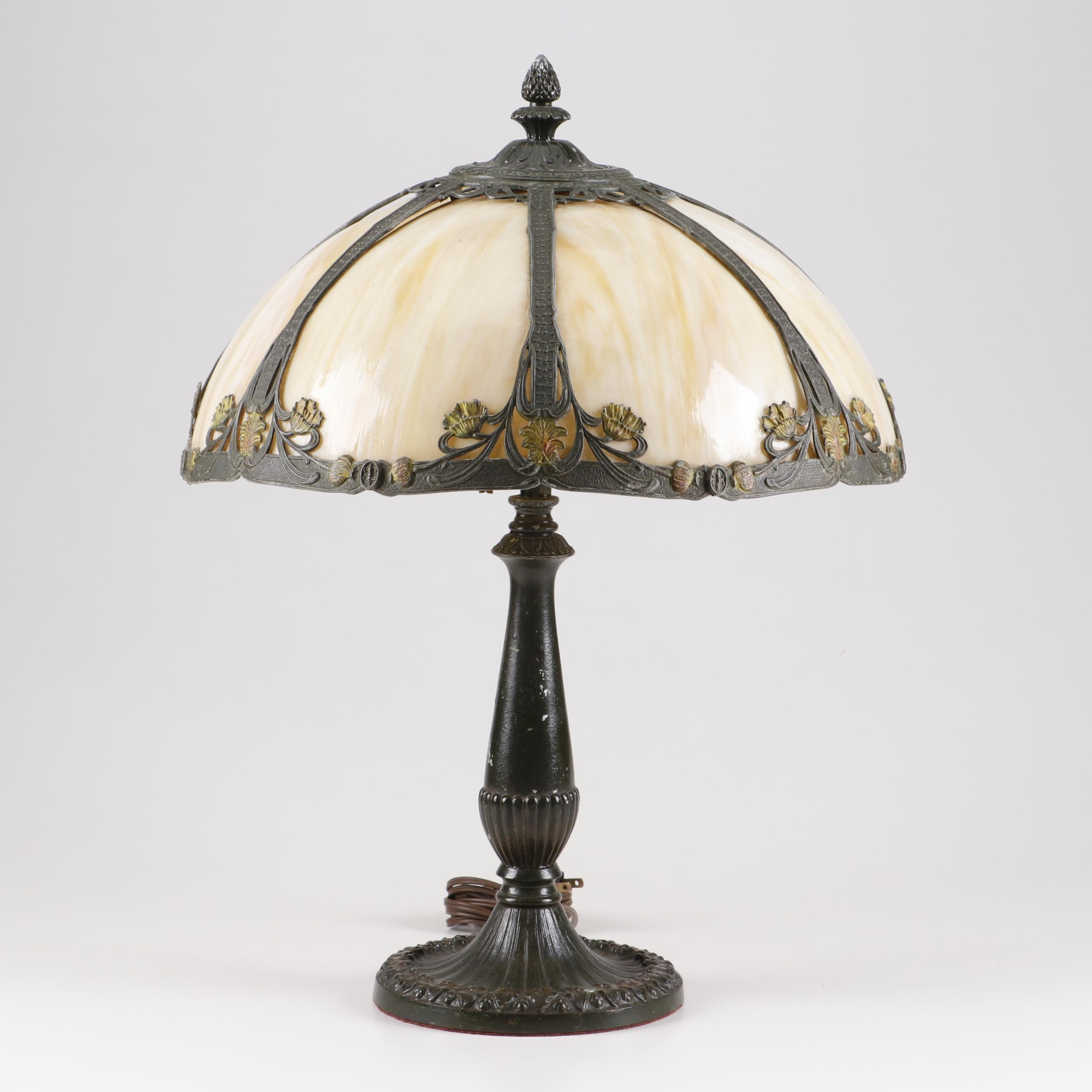 Art Nouveau Metal Table Lamp with Slag Glass Overlay Shade After Miller, 20th C