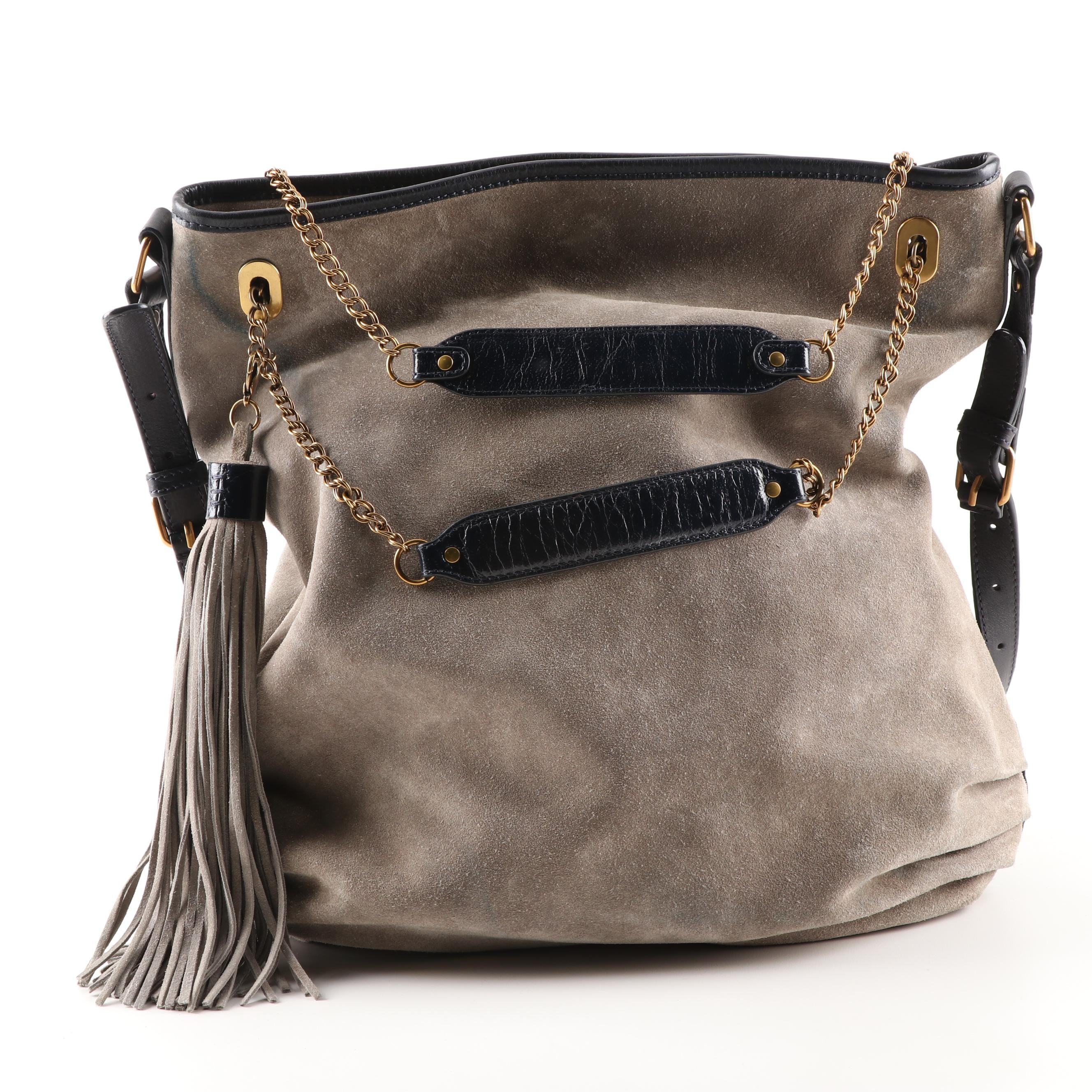 Vanessa Bruno Gray Suede and Leather Hobo Bag with Tassel