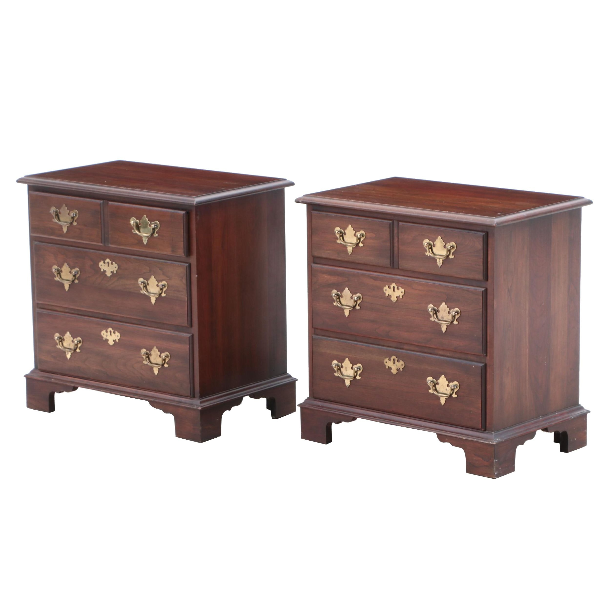 Pennsylvania House Colonial Style Walnut Nightstands, Late 20th Century