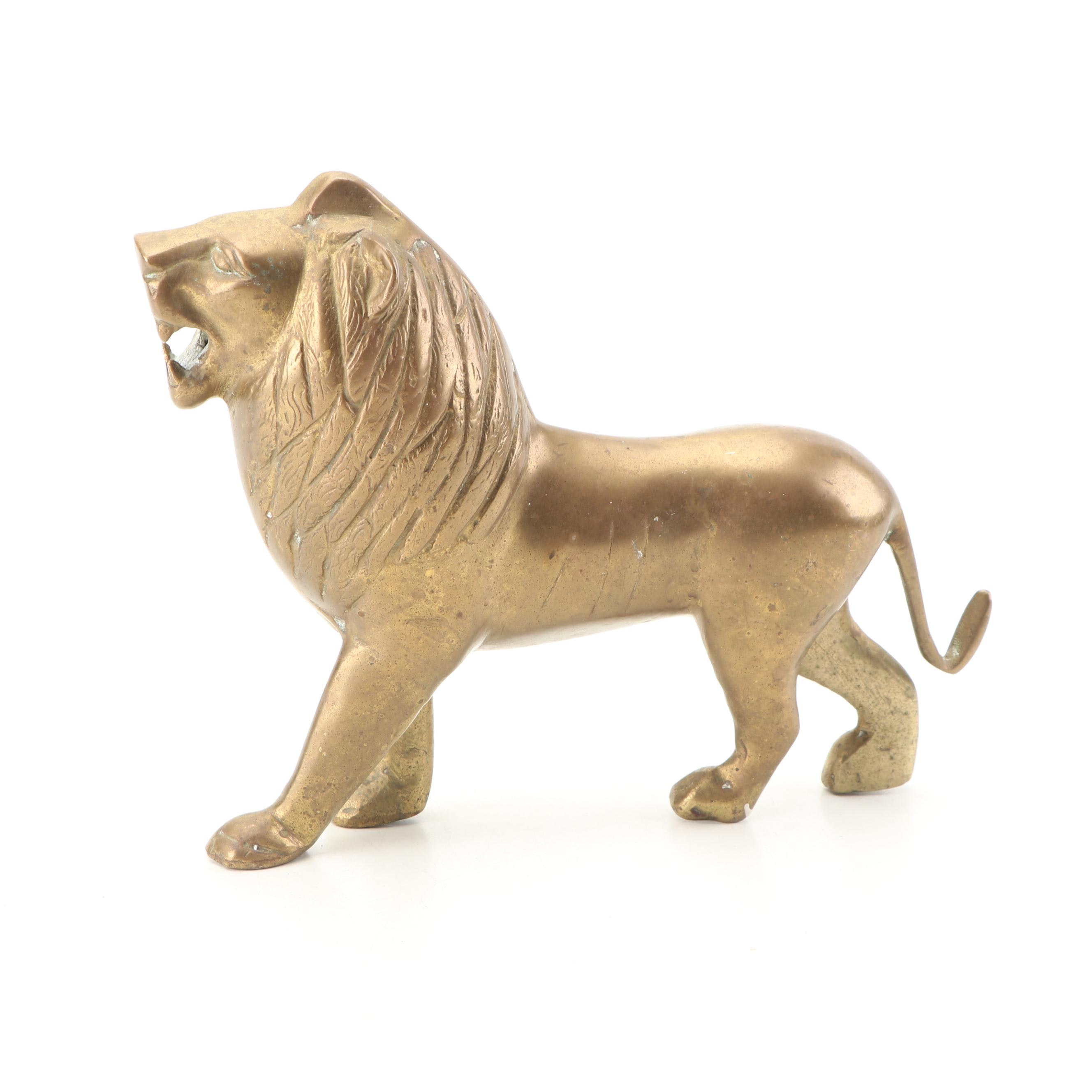 Cast Brass Lion Figurine, Mid 20th Century