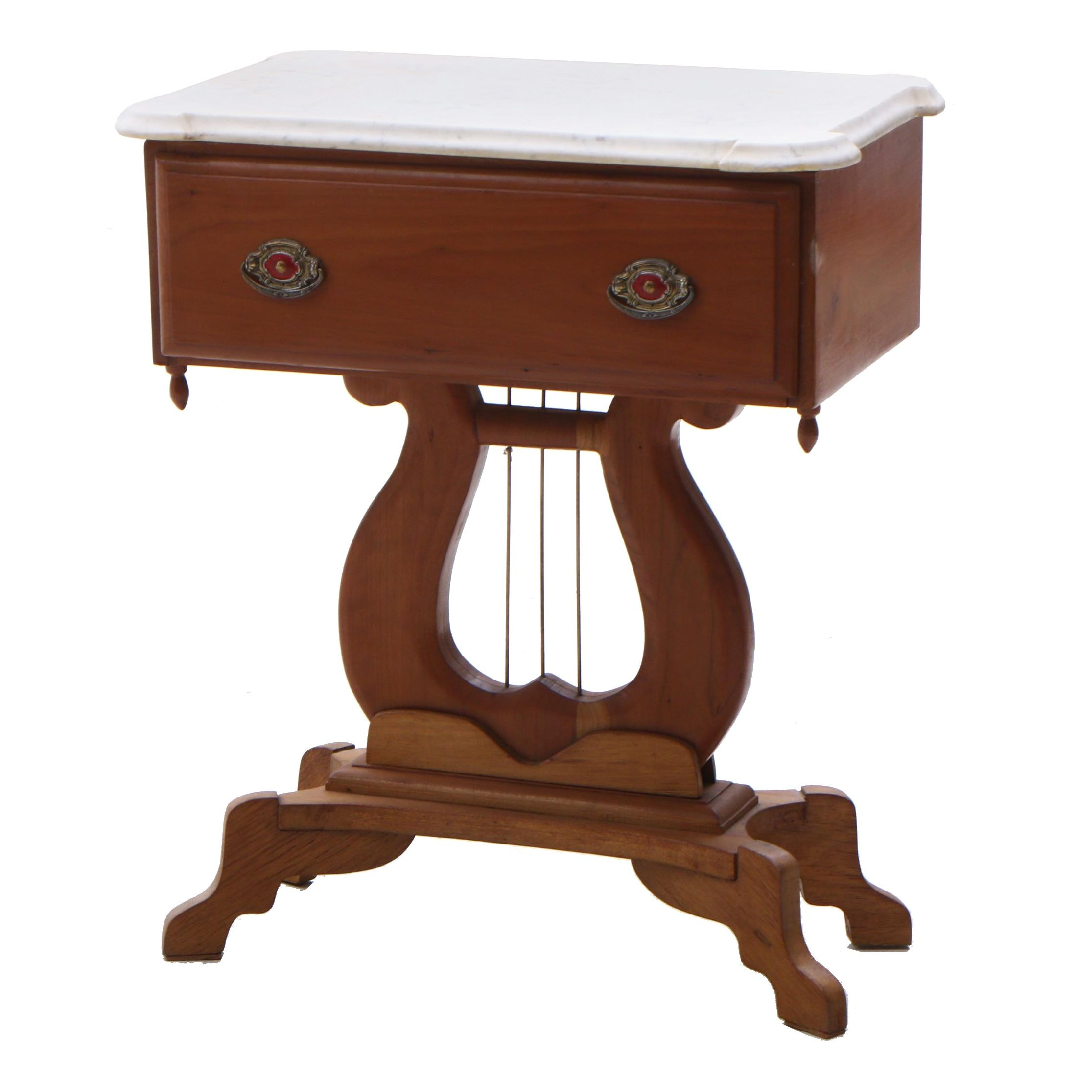 Empire Maple Lyre Base Accent Table, Mid 19th Century
