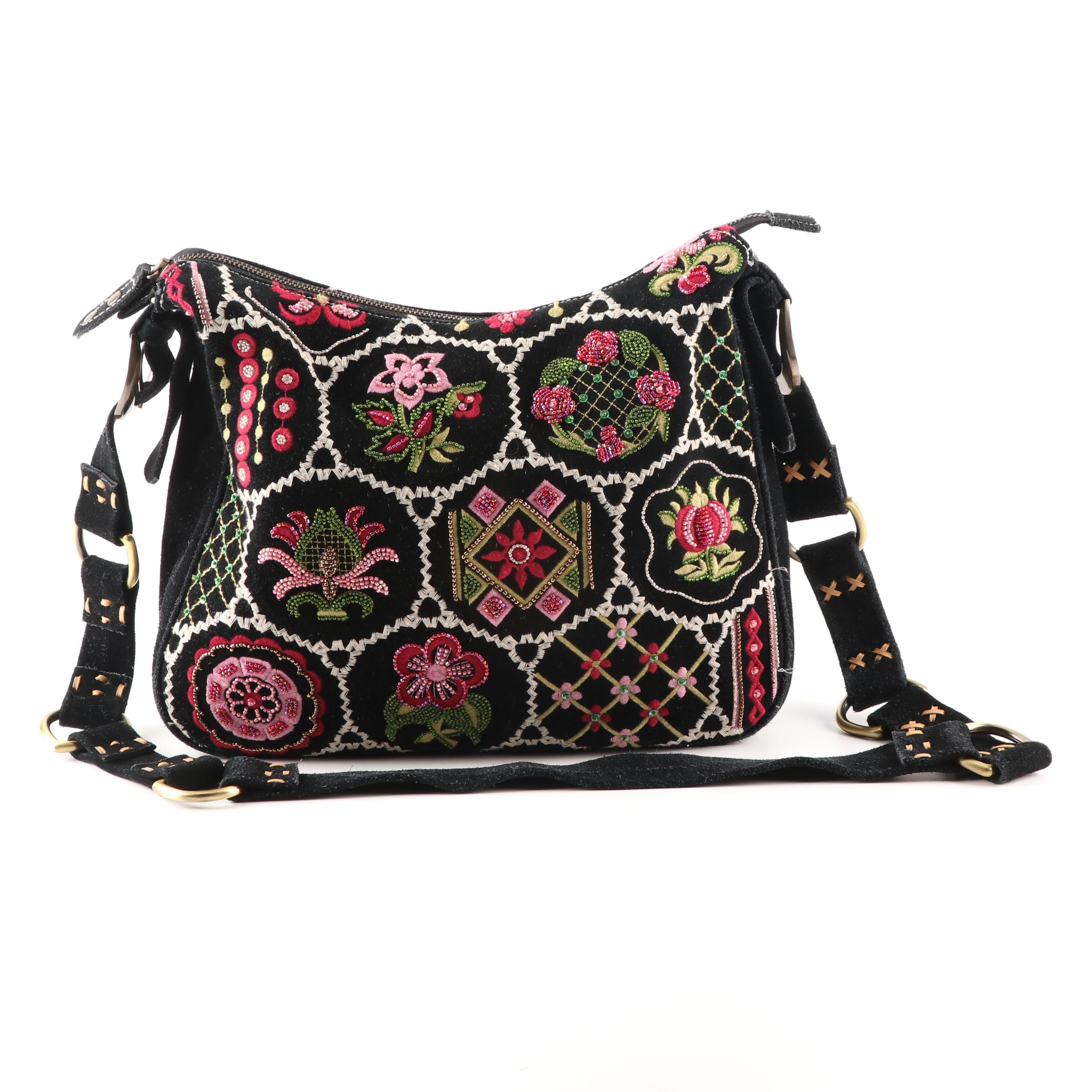 Isabella Fiore Embroidered and Beaded Black Suede Shoulder Bag