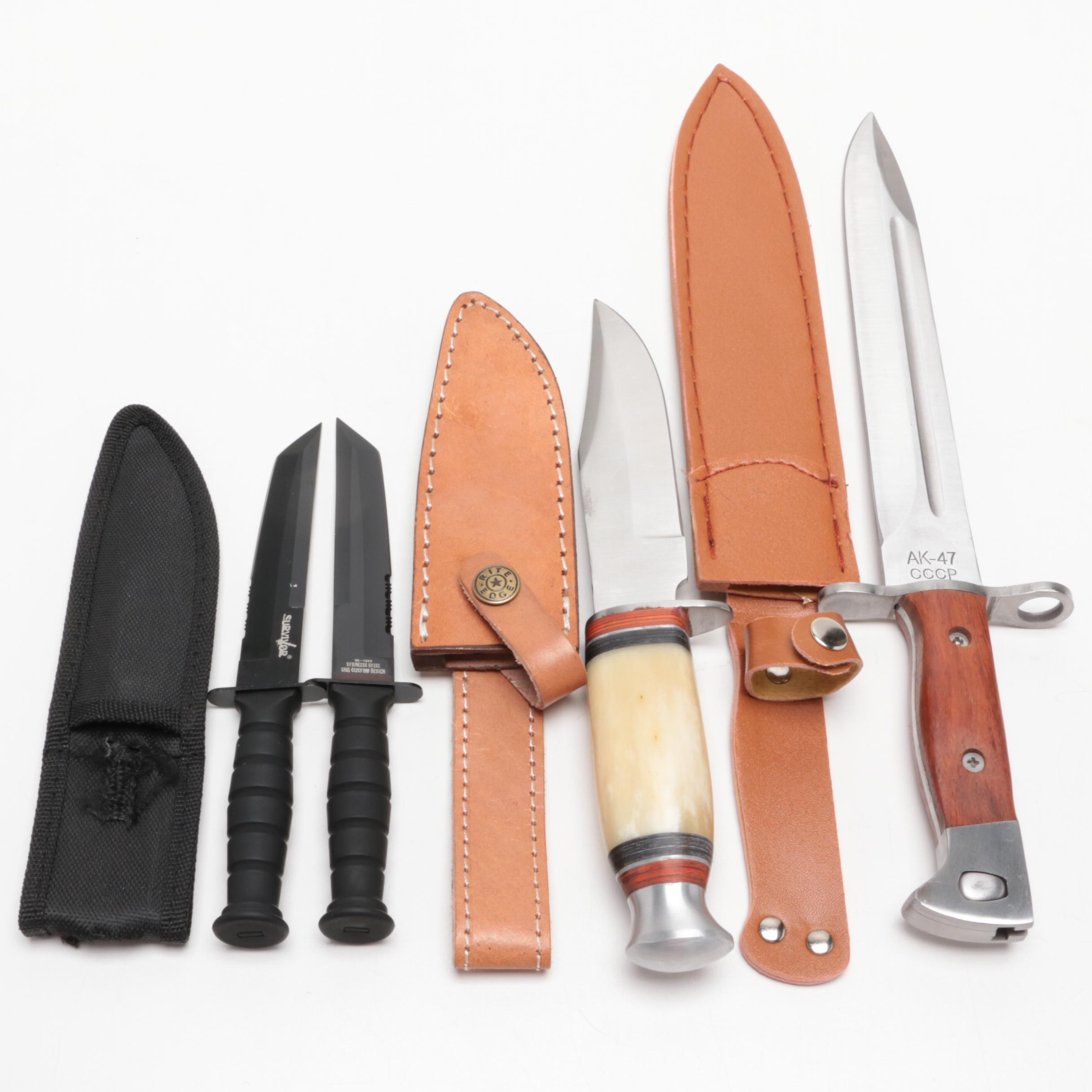 Group of Hunting and Military Style Knives