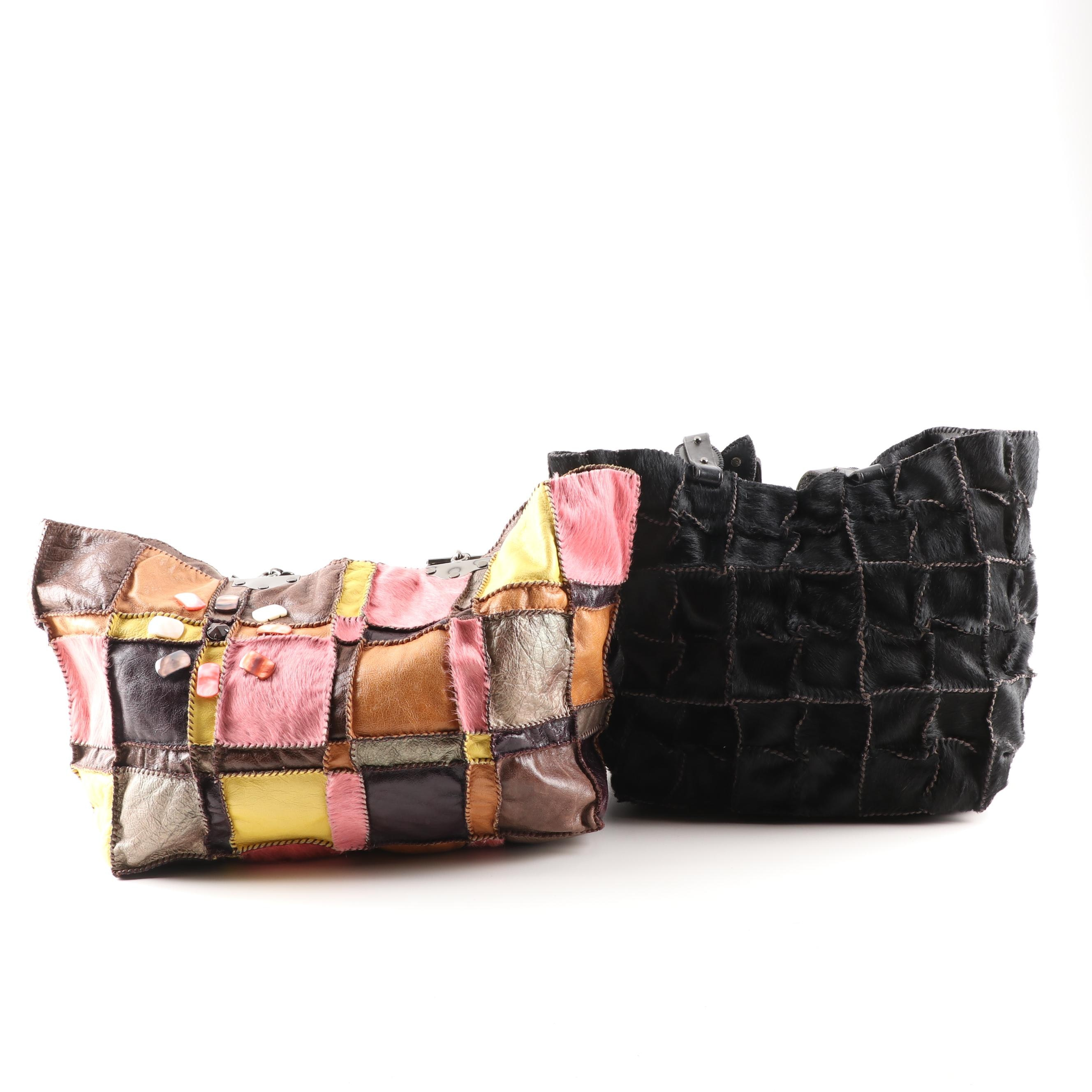Jamin Puech Patchwork Calf Hair and Leather Tote Bags