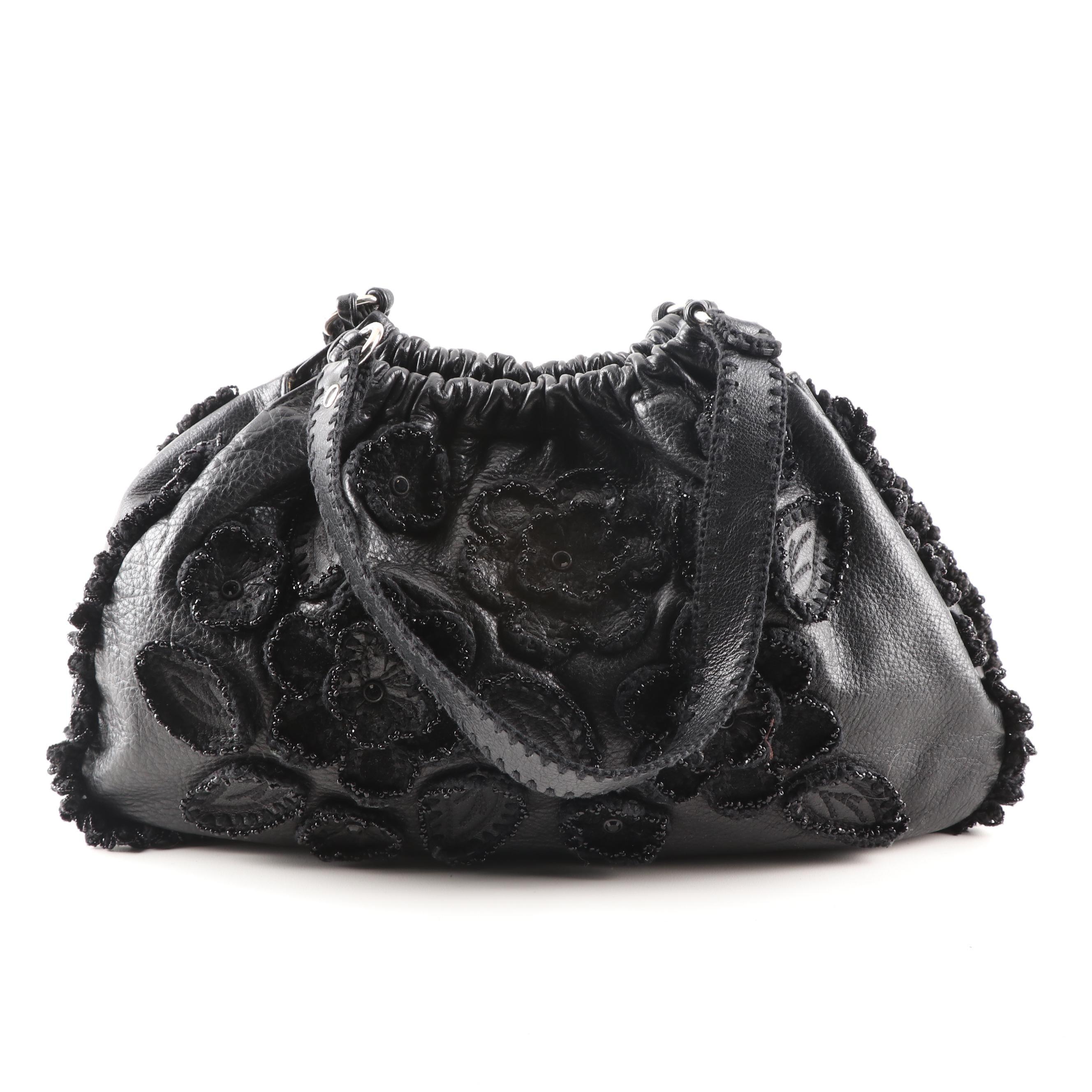 Isabella Fiore Black Leather Beaded Flower Handbag