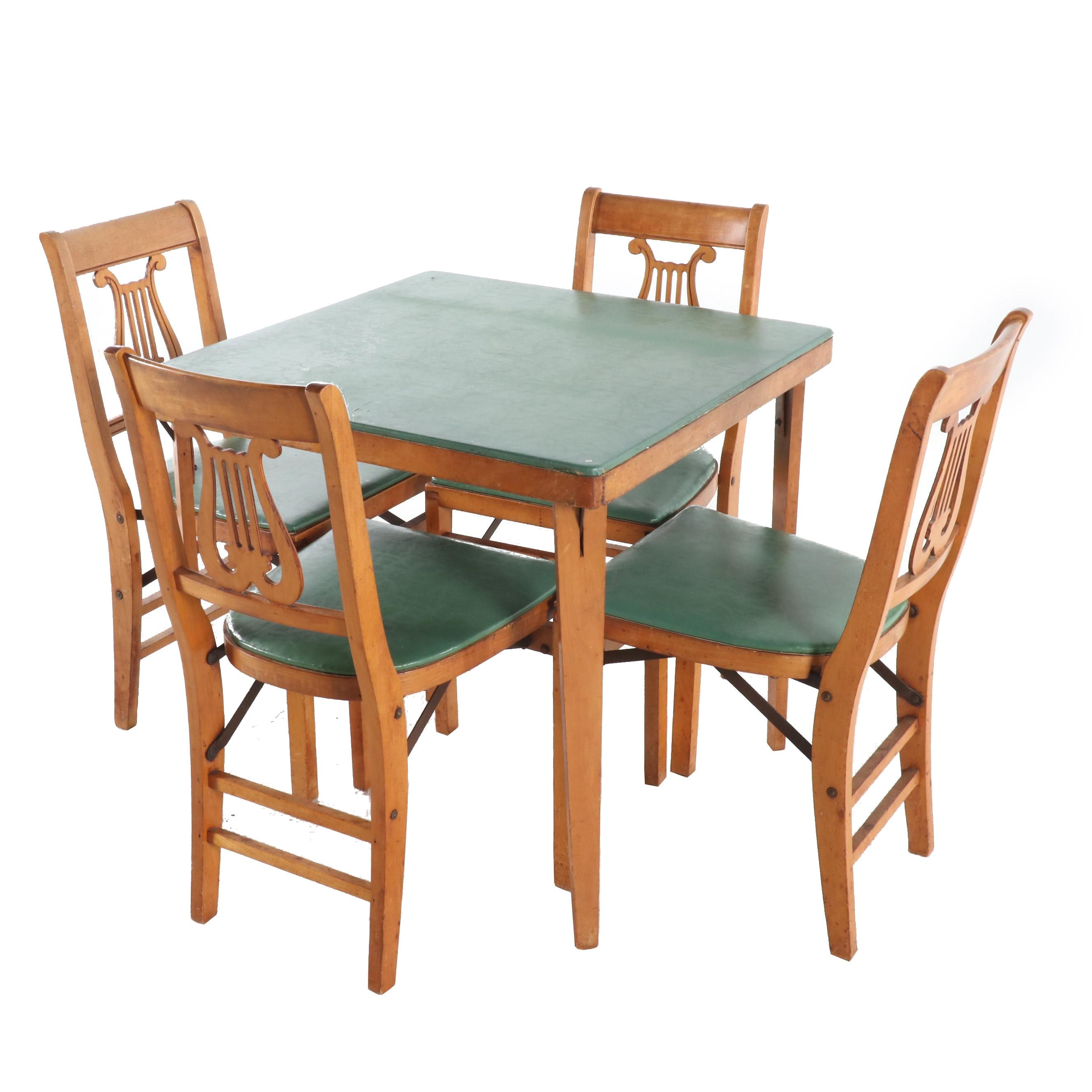 Stakmore Maple Folding Game Table and Four Chairs