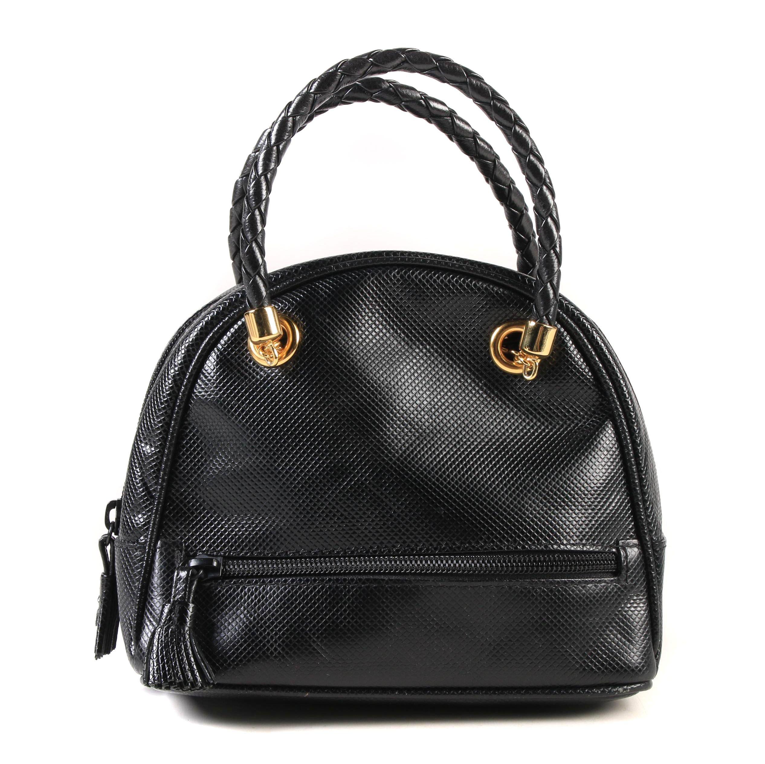 Bottega Veneta Mini Dome Bag in Black Rubberized Canvas with Intrecciato Handles