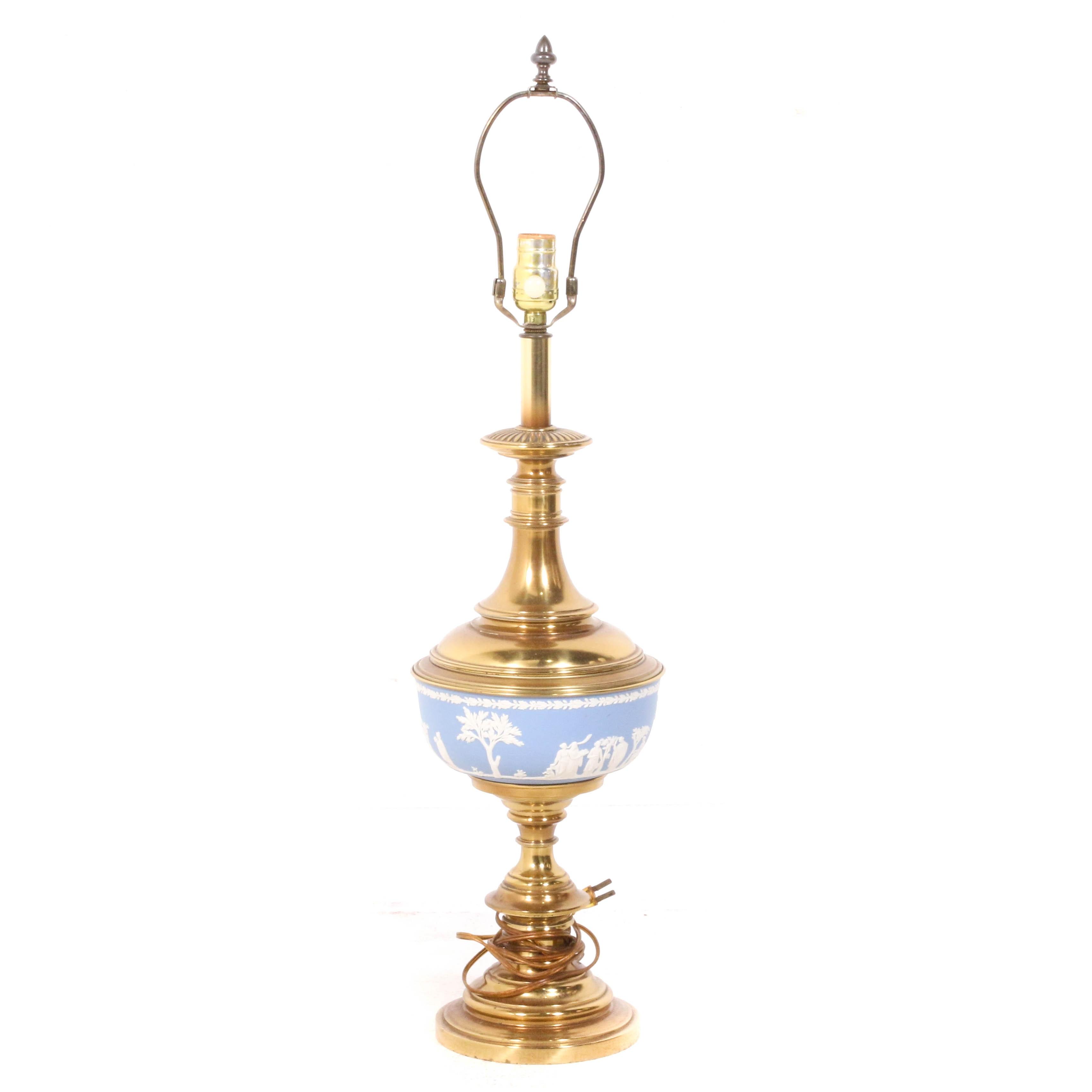 Jasperware and Brass Table Lamp