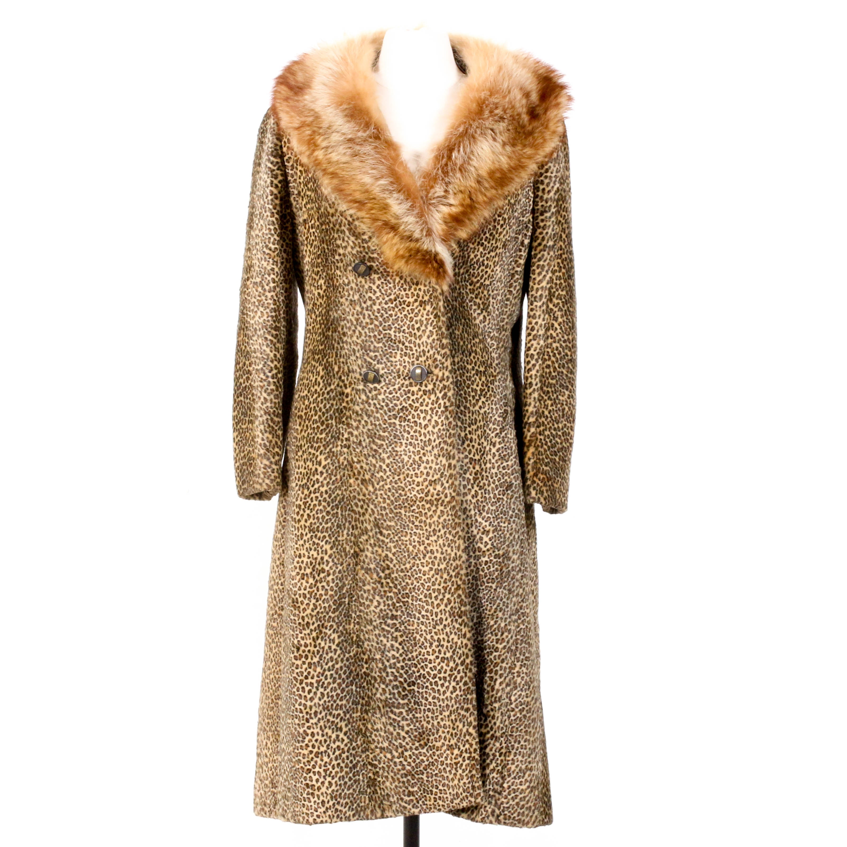 Faux Leopard Double-Breasted Coat with Fox Fur Collar, Vintage