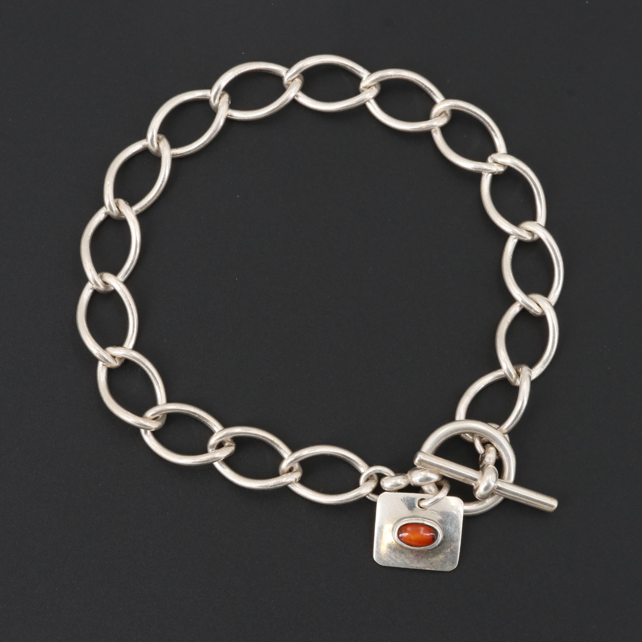 Mexican Sterling Silver Chain Bracelet with Amber Charm