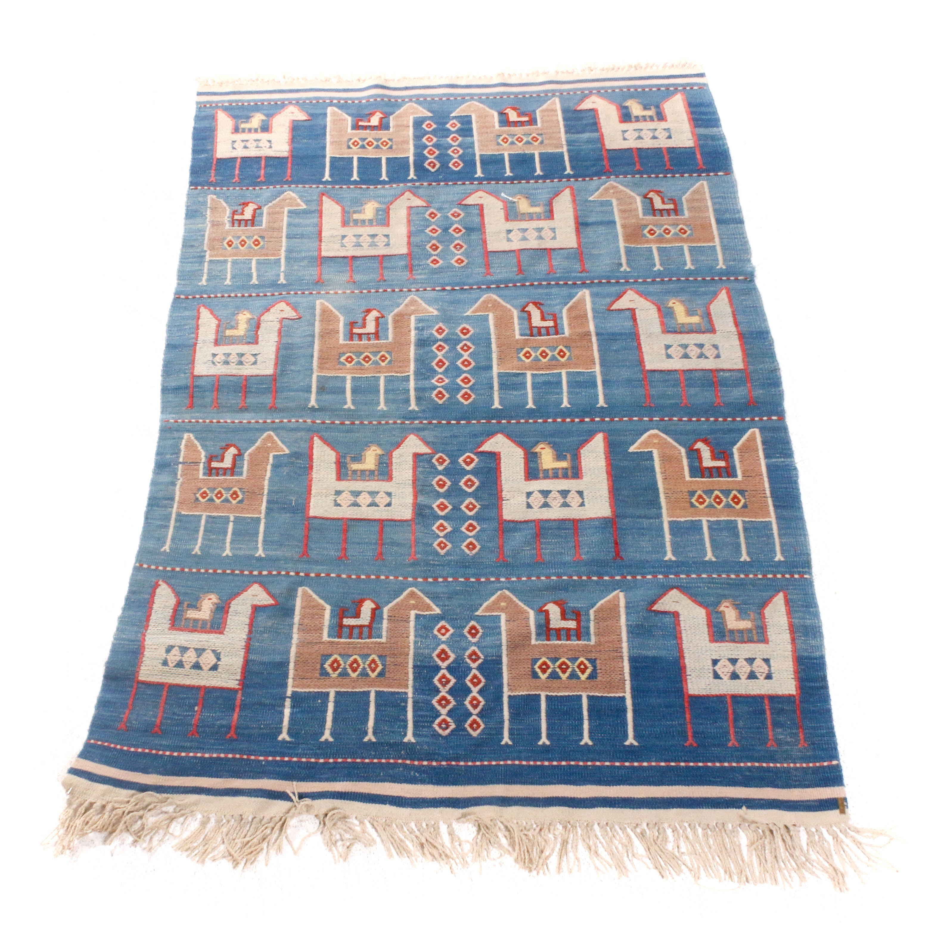 Handwoven and Embroidered Turkish Pictorial Kilim