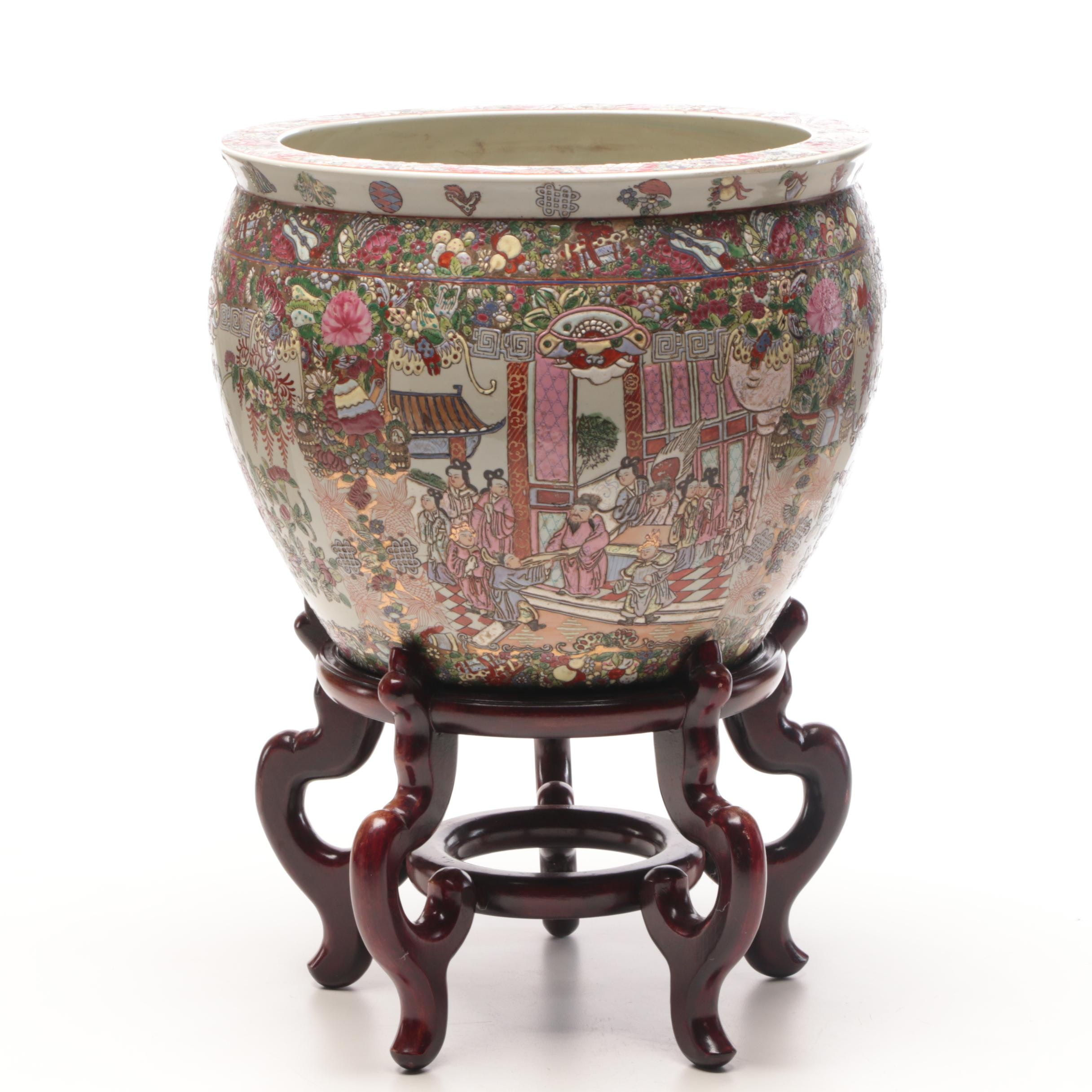 Chinese Hand-Decorated Ceramic Planter with Stand