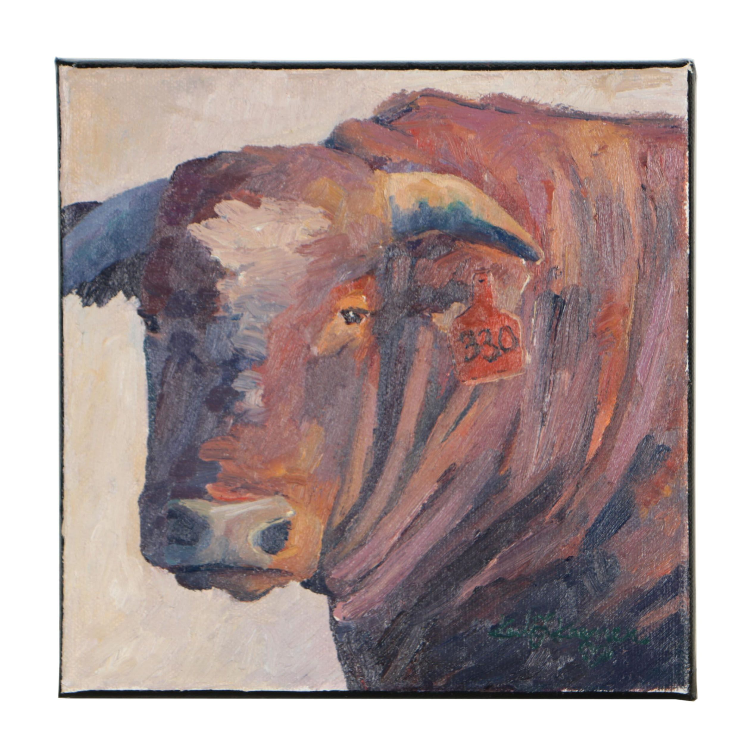"Kadi Love-Keener Oil Painting ""Old Brown Cow"""
