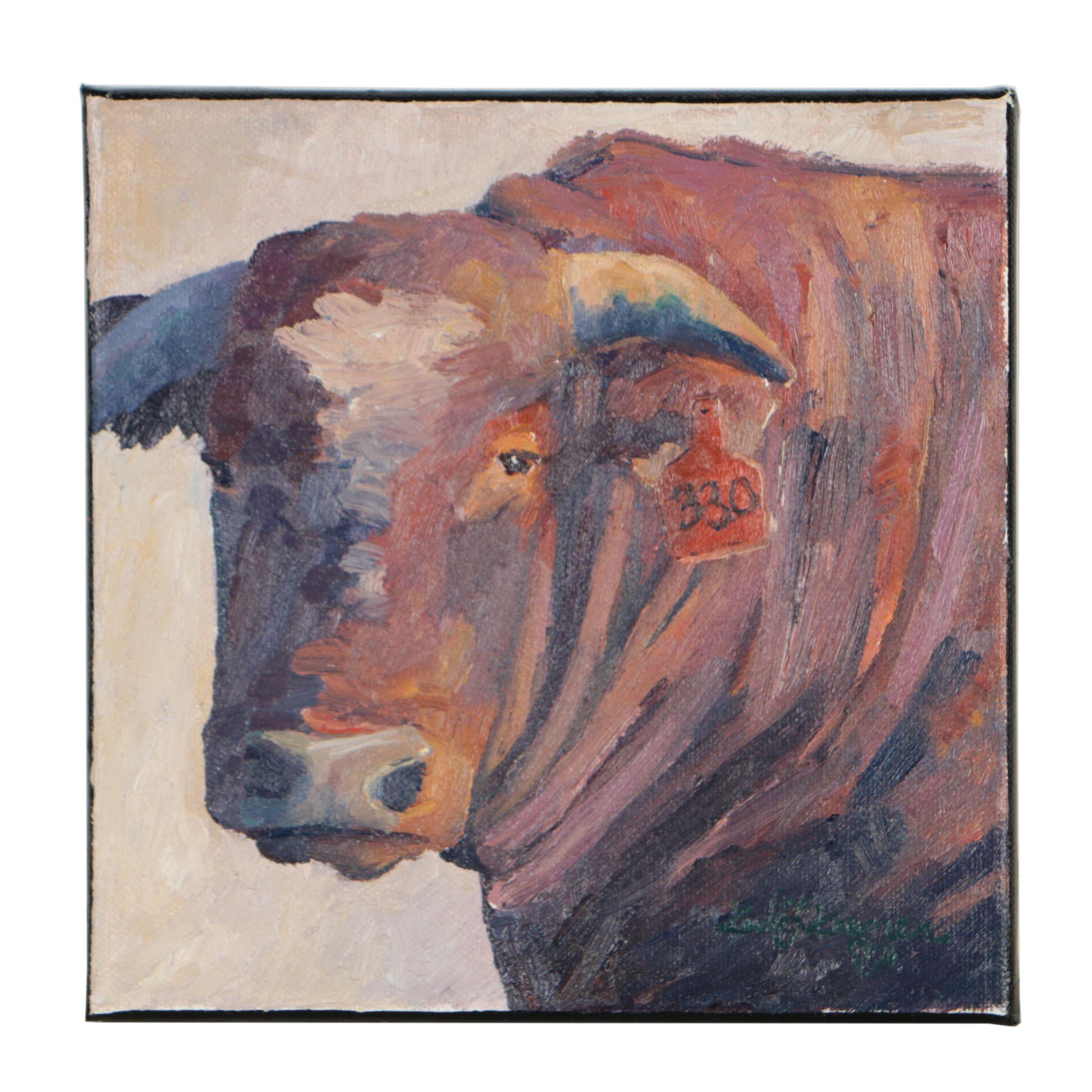 """Kadi Love-Keener Oil Painting """"Old Brown Cow"""""""
