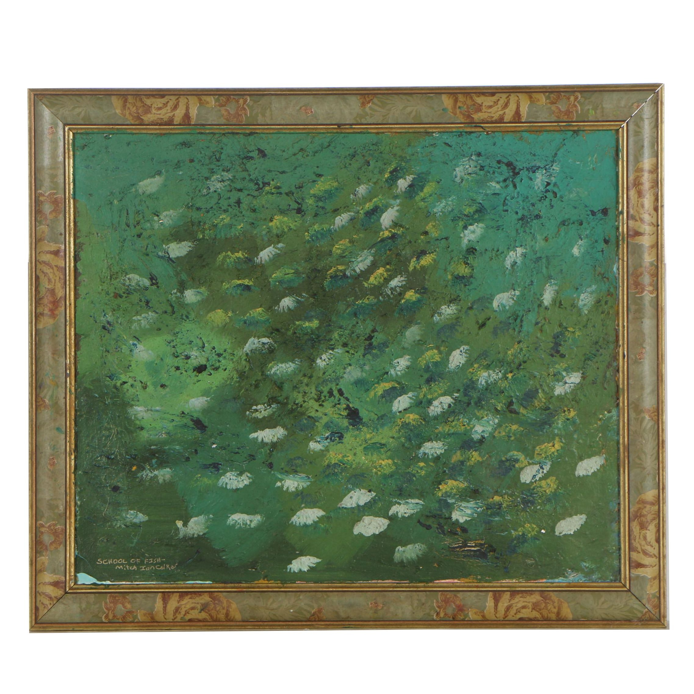 """Mitch Ian Colker Oil Painting """"School of Fish"""""""